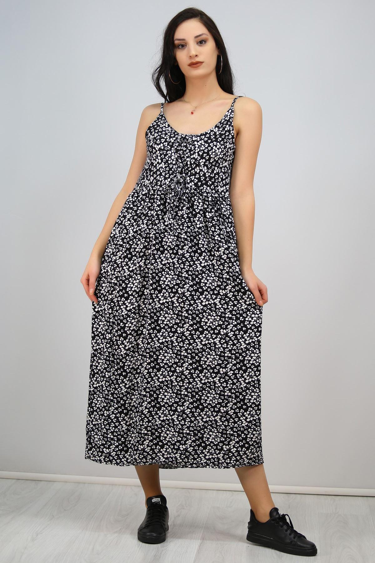 İp Askılı Bağcıklı Elbise Siyah - 6592.1293.