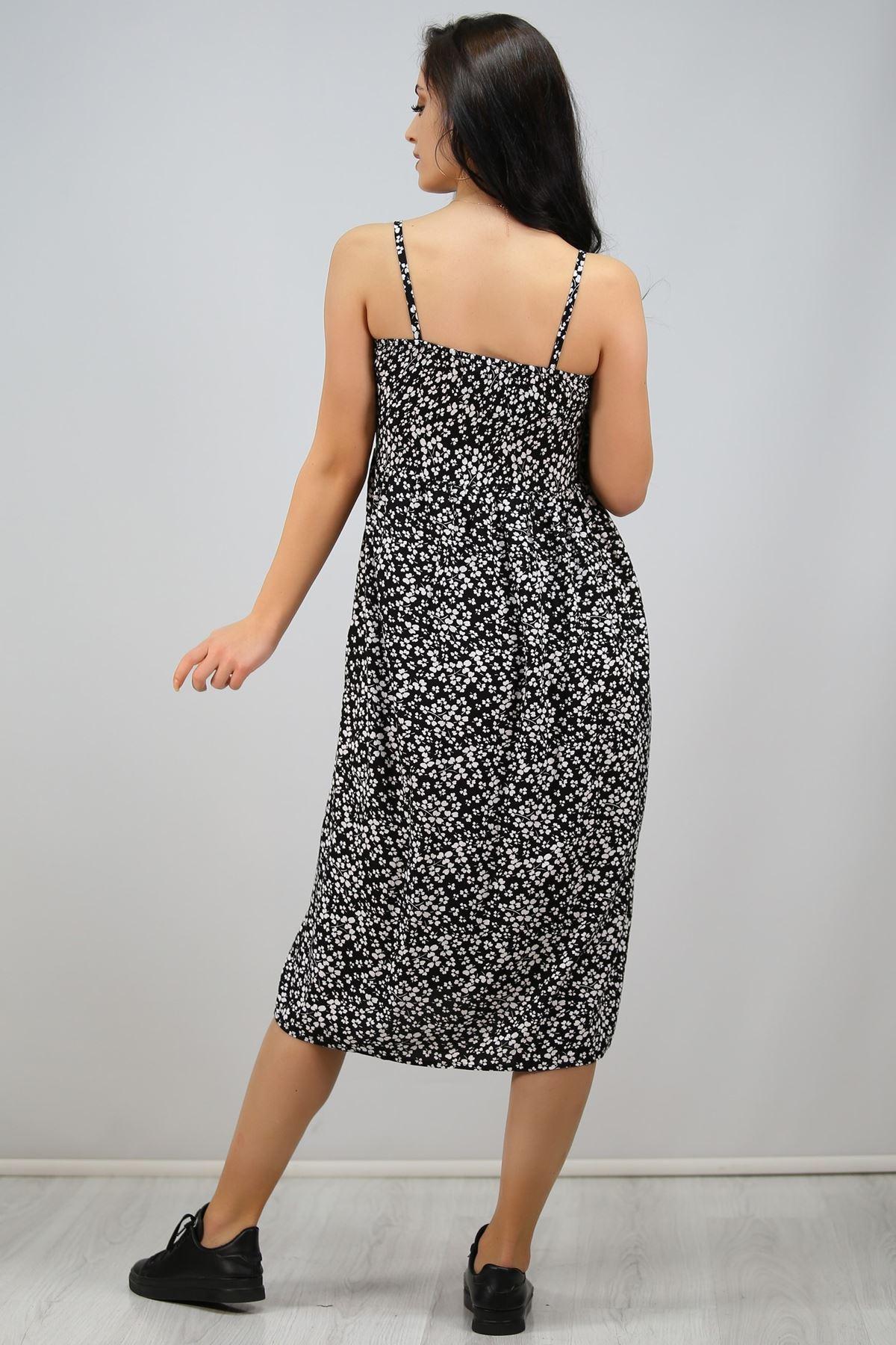İpaskılı Düğmeli Elbise Siyah - 6578.1293.