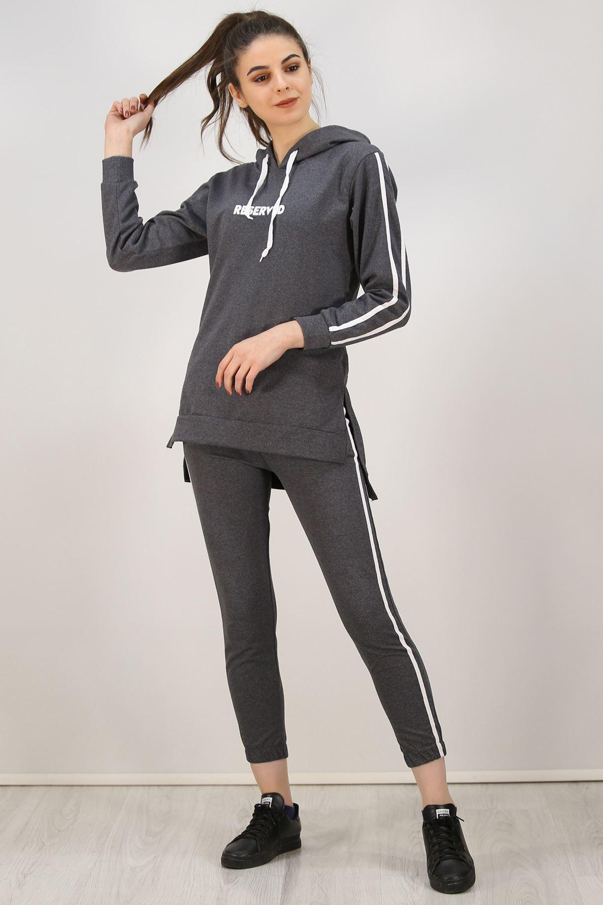 Kadın Kapüşonlu Tunik Takım Antrasit - 2772.1005.
