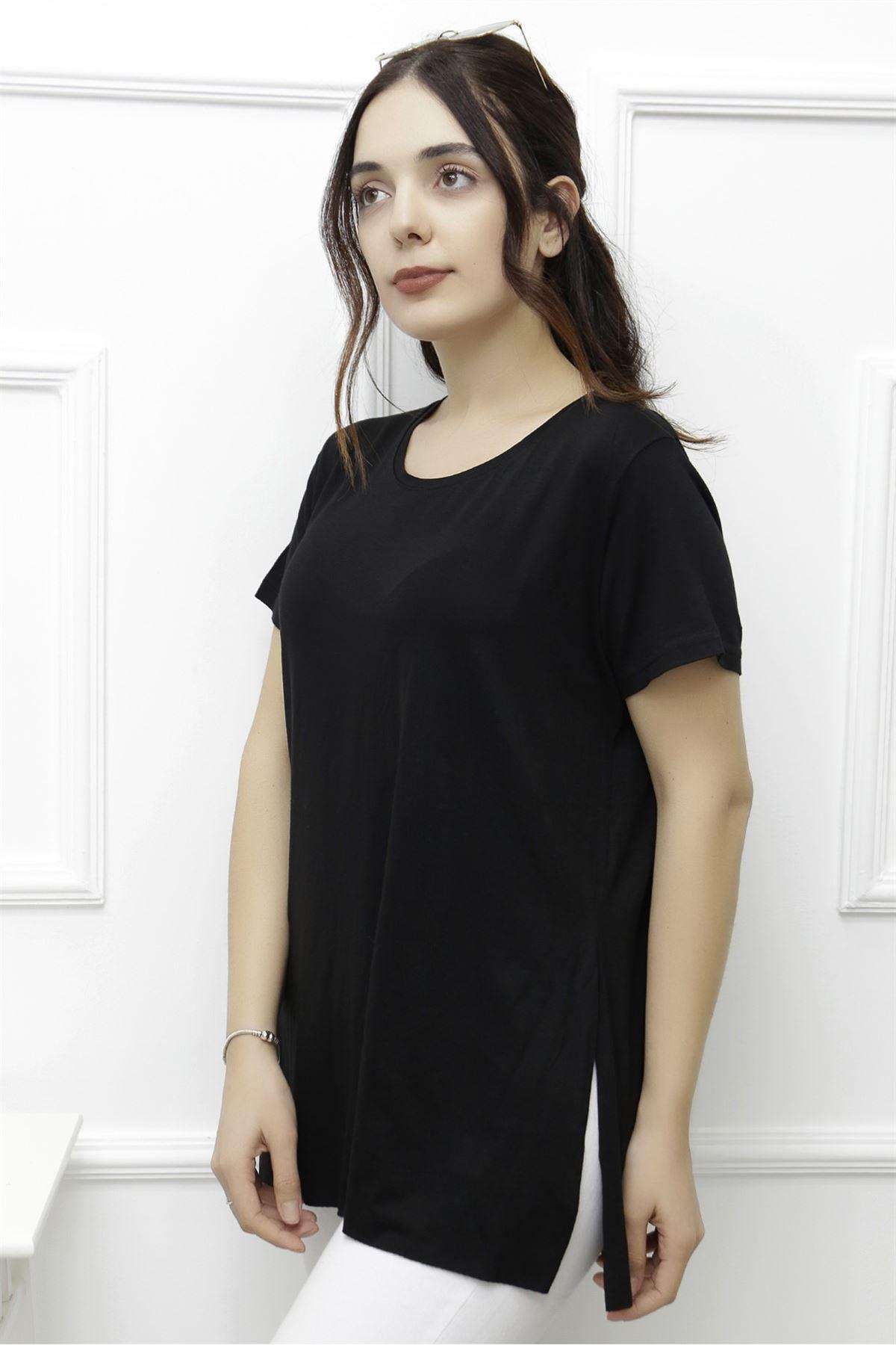 Kadın Yan Yırtmaçlı Viskon Tişört Siyah - 1174.1095.