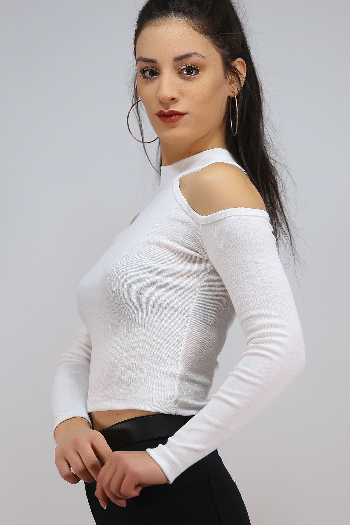 Omuz Dekolteli Bluz Beyaz - 4937.1234.