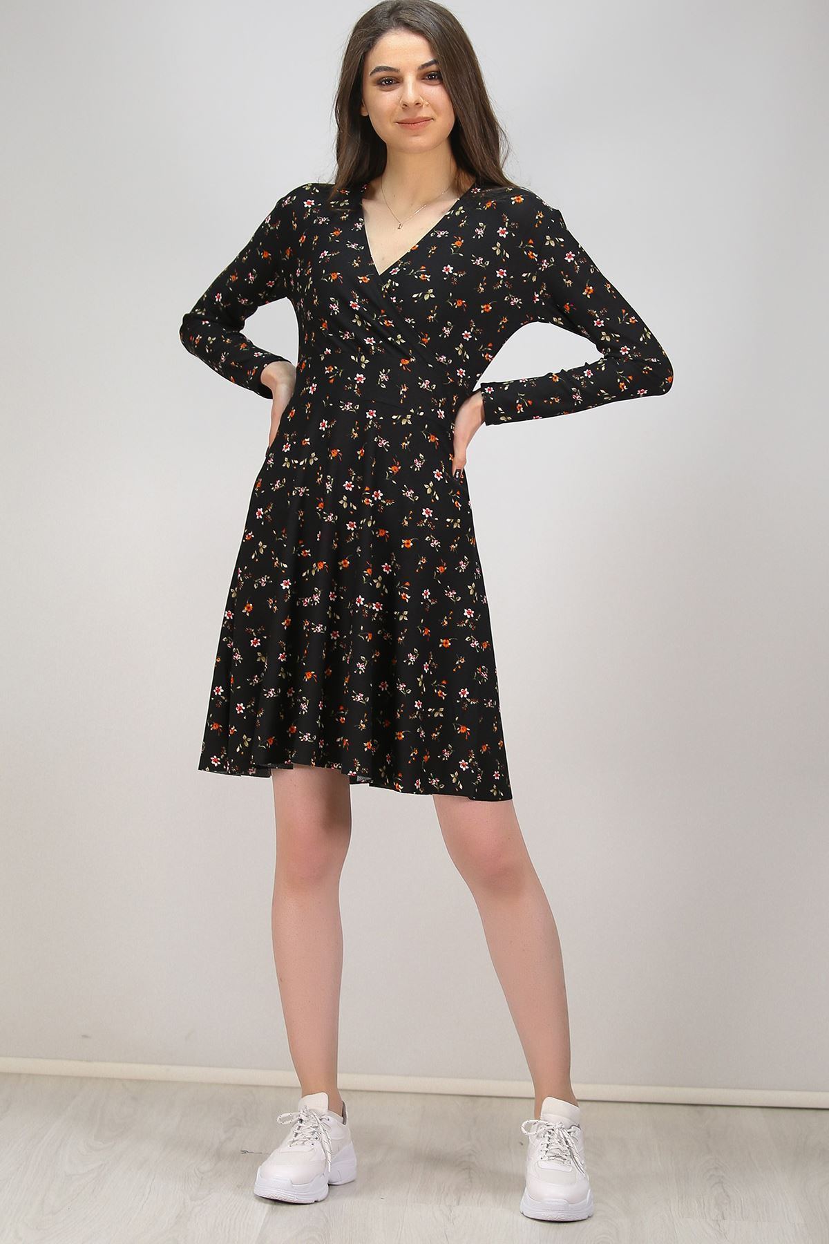 Örme Krep Elbise Siyahçiçekli - 4941.148.