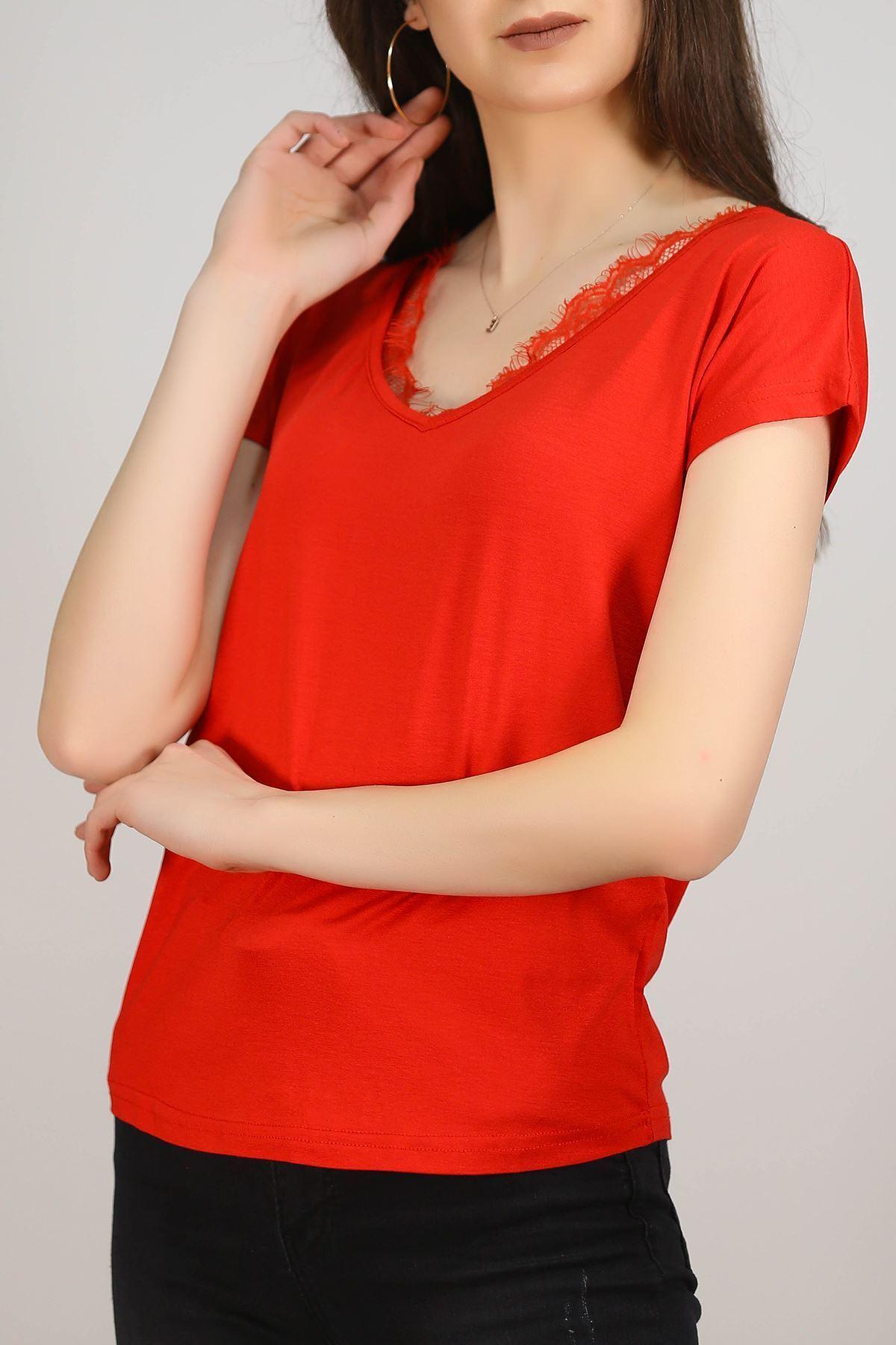 V Yaka Dantelli Bluz Kırmızı - 1184.1095.