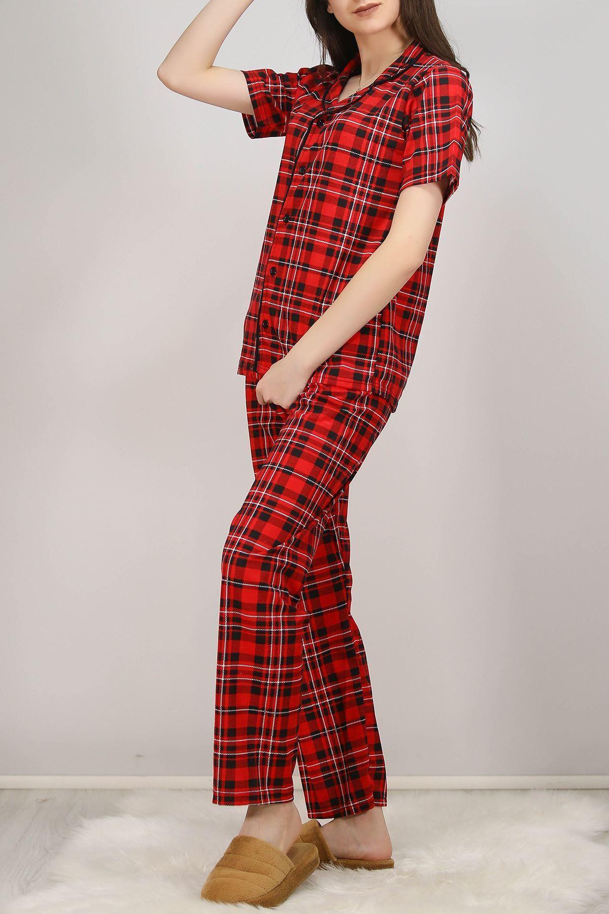 Düğmeli Pijama Takımı Siyahkırmızı - 4782.102.