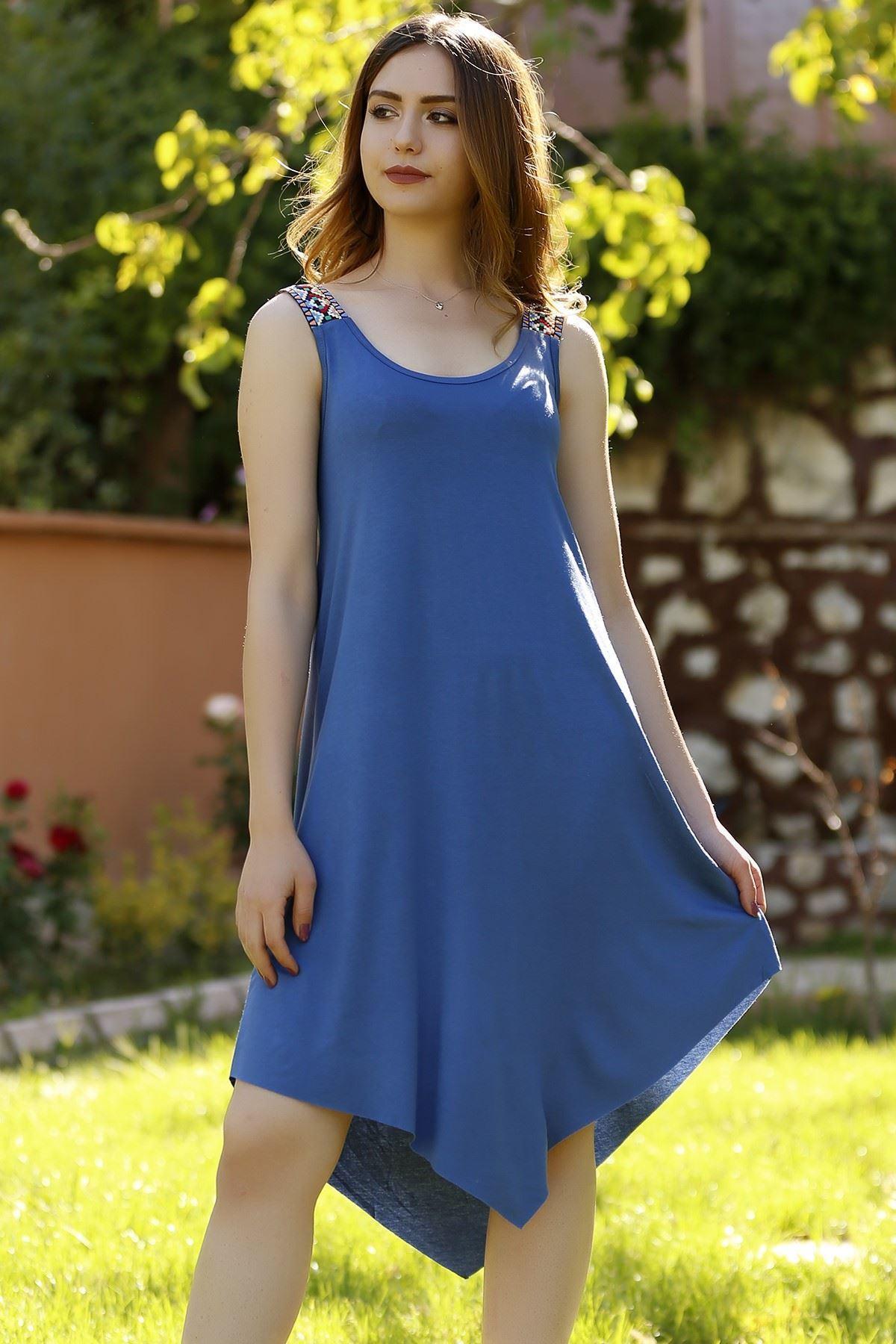 Omuzu Aksesuarlı Elbise Mavi - 1221.1095.