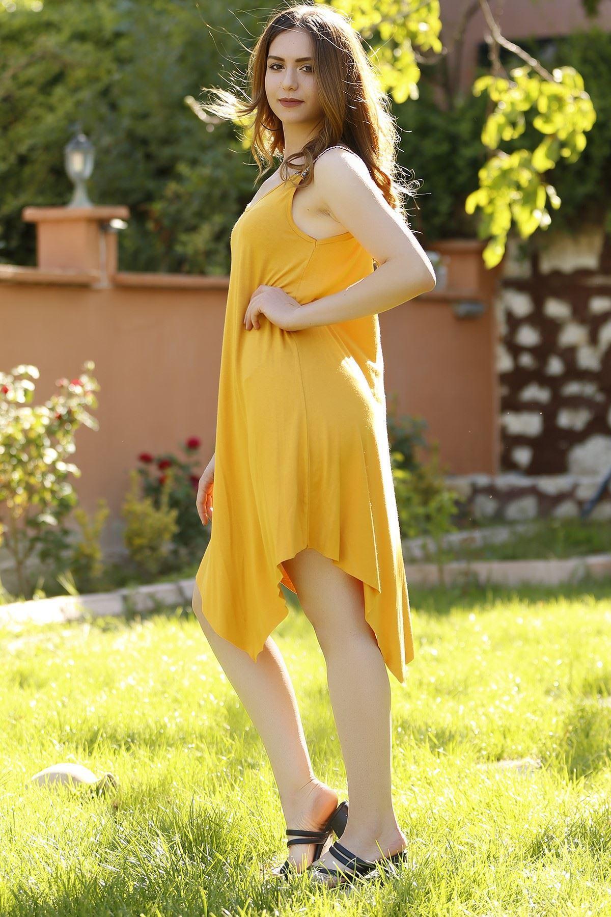 Omuzu Aksesuarlı Elbise Hardal - 1221.1095.