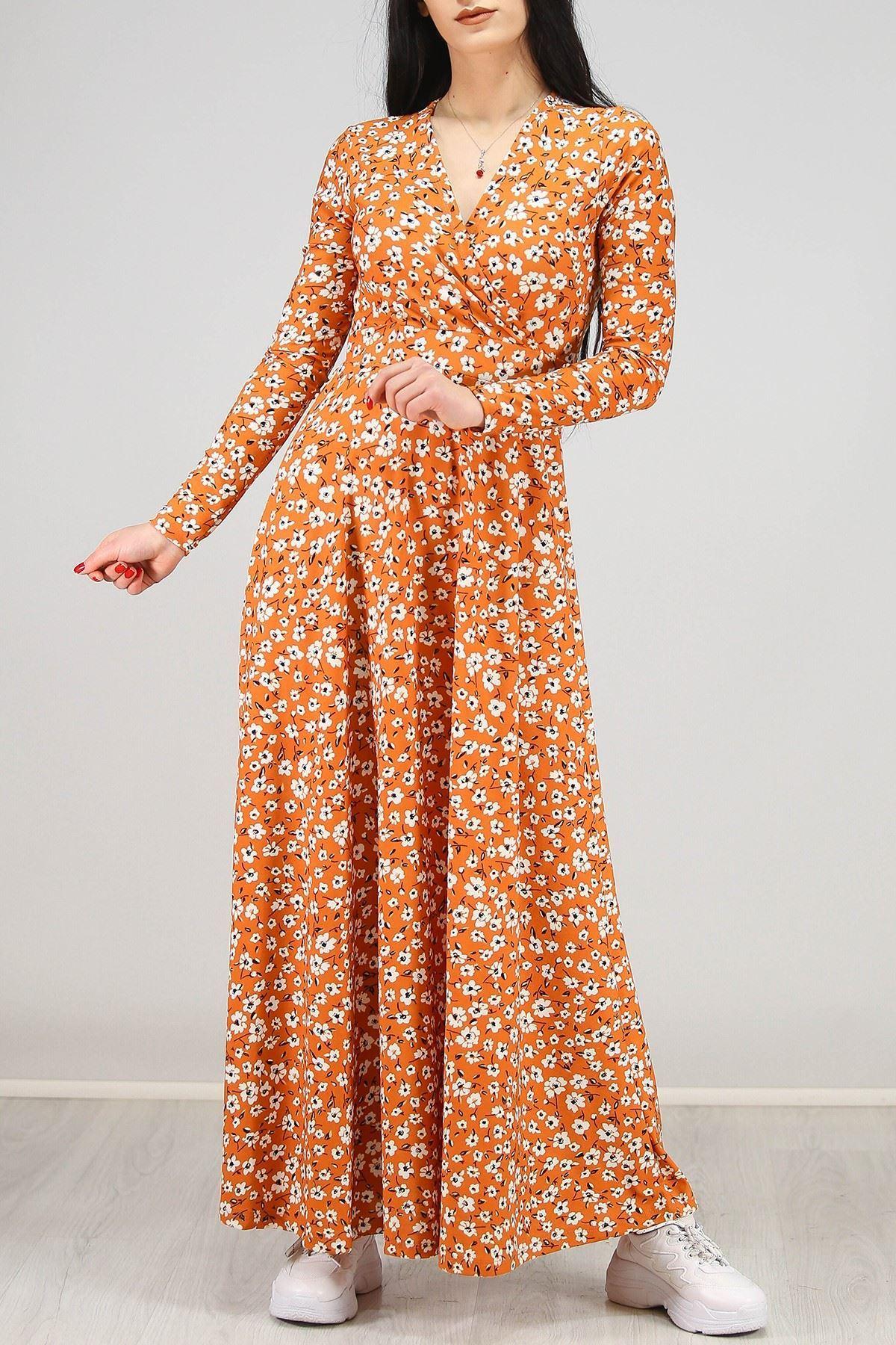 Çiçekli Elbise Kiremit - 4987.716.