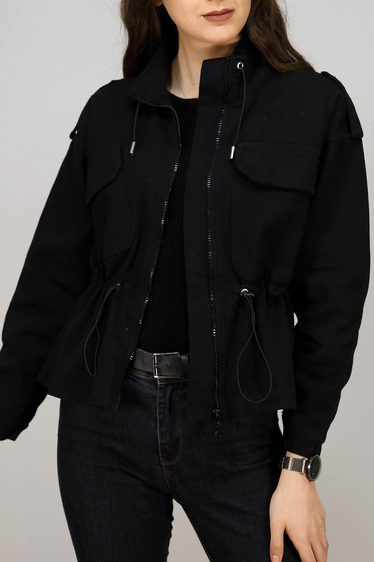 Apoletli Kot Ceket Siyah - 4984.240.