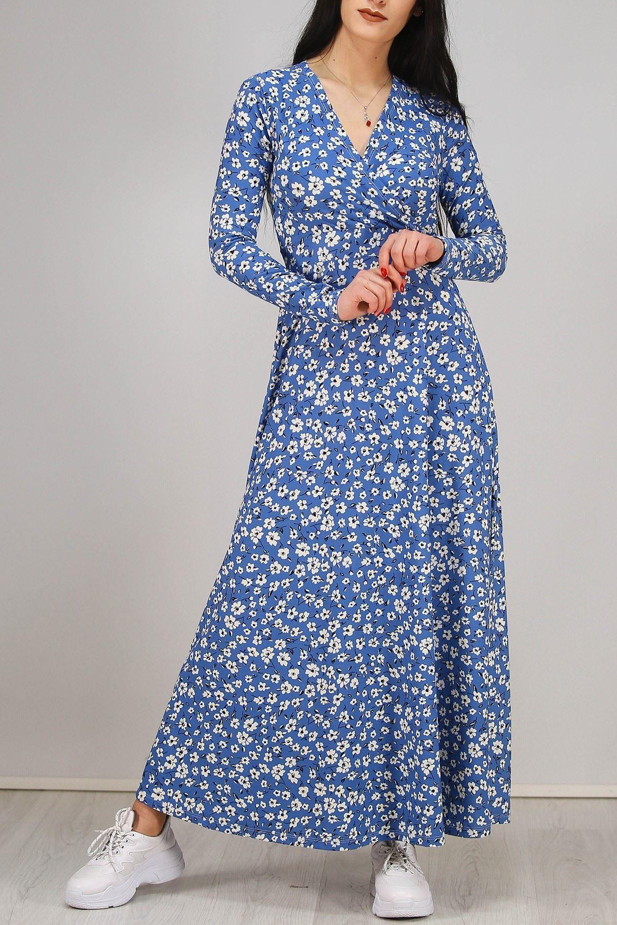 Çiçekli Elbise Mavi - 4987.716.