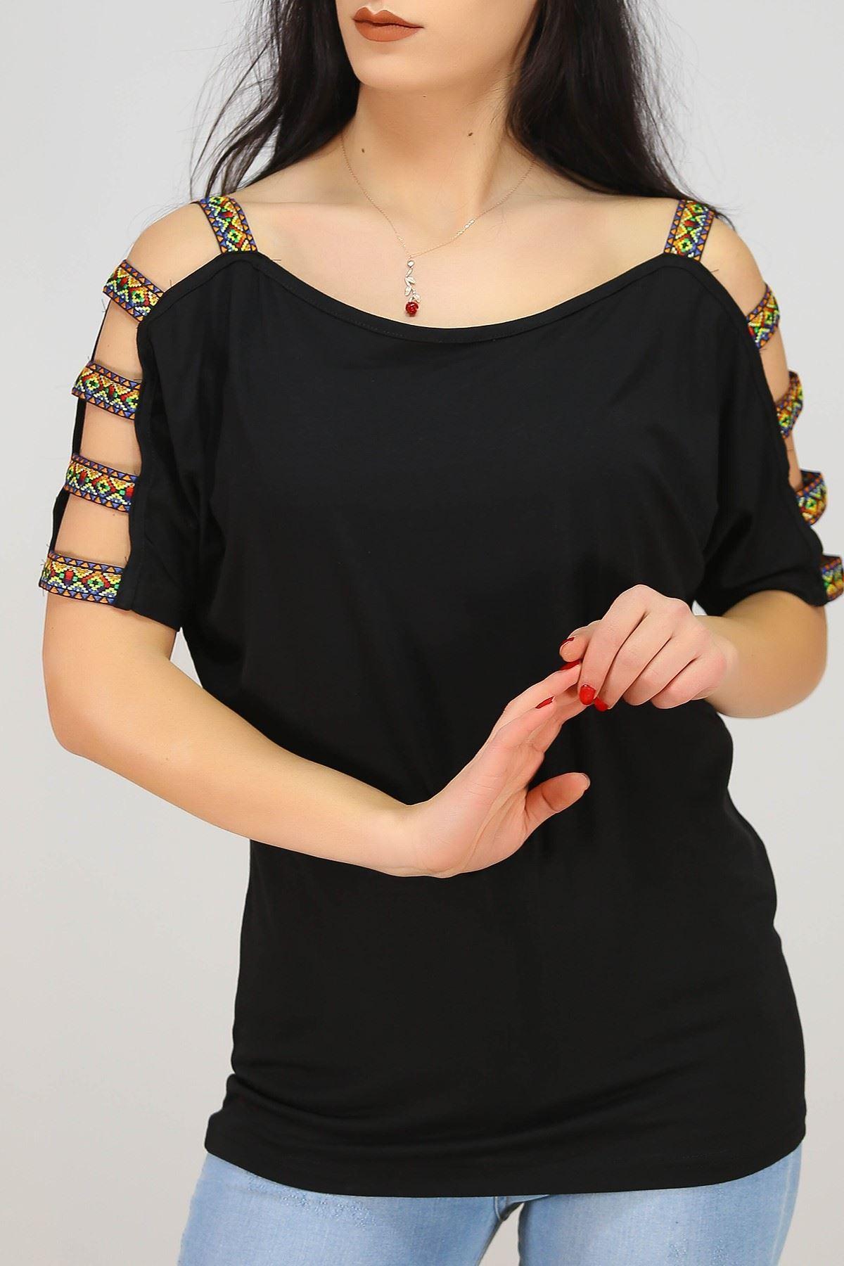 Kol Etnik Askılı Bluz Siyah - 1476.1095.