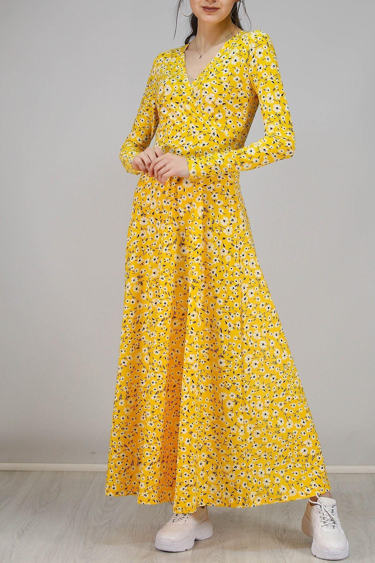 Çiçekli Elbise Sarı - 4987.716.
