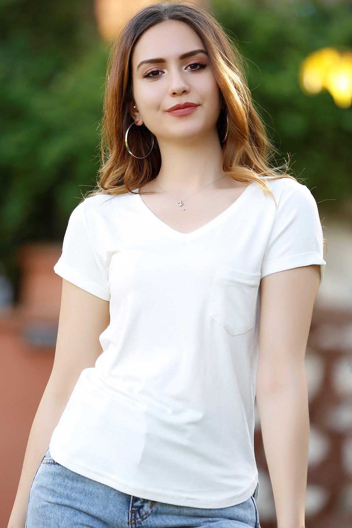 Kadın Cepli Bluz Beyaz - 1470.1095.
