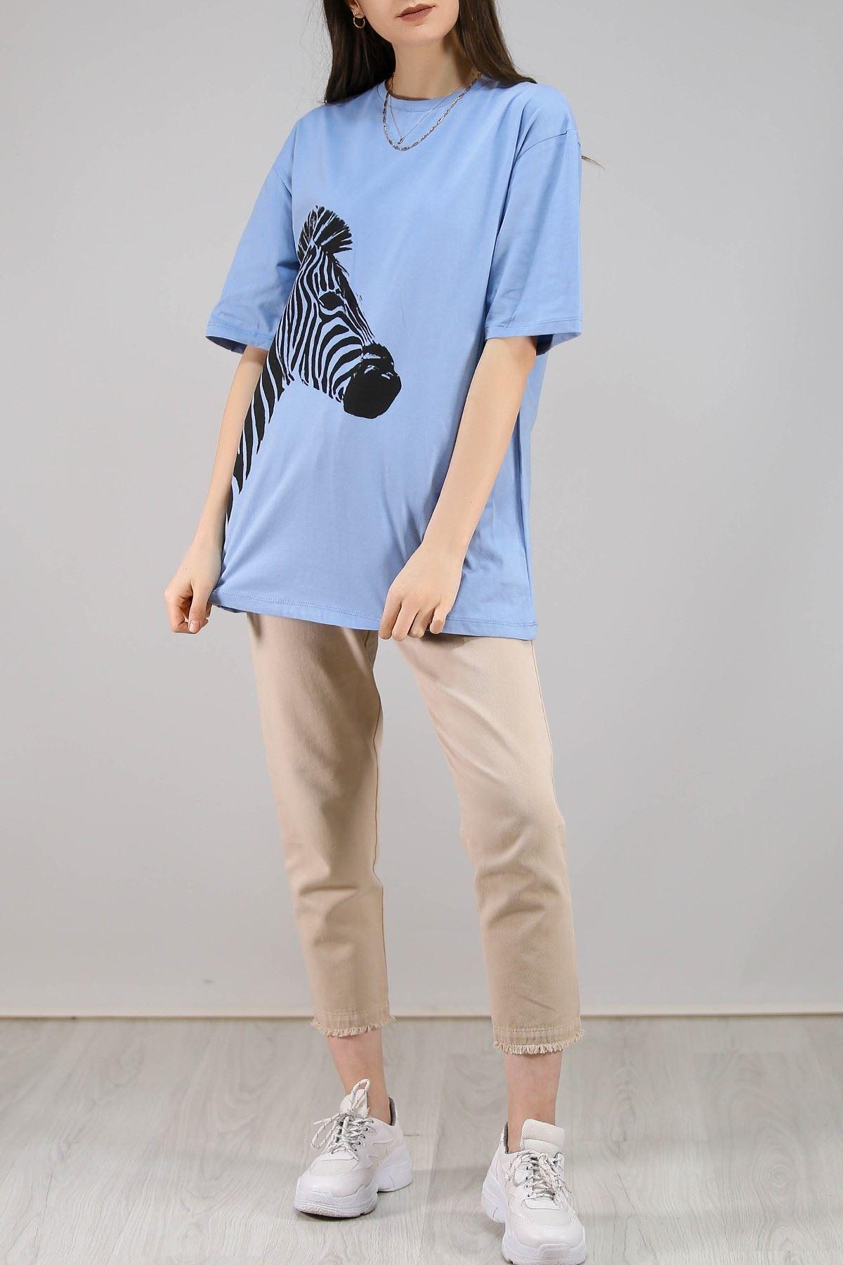 Zebra Baskılı Tişört Bebemavi - 3643.222.