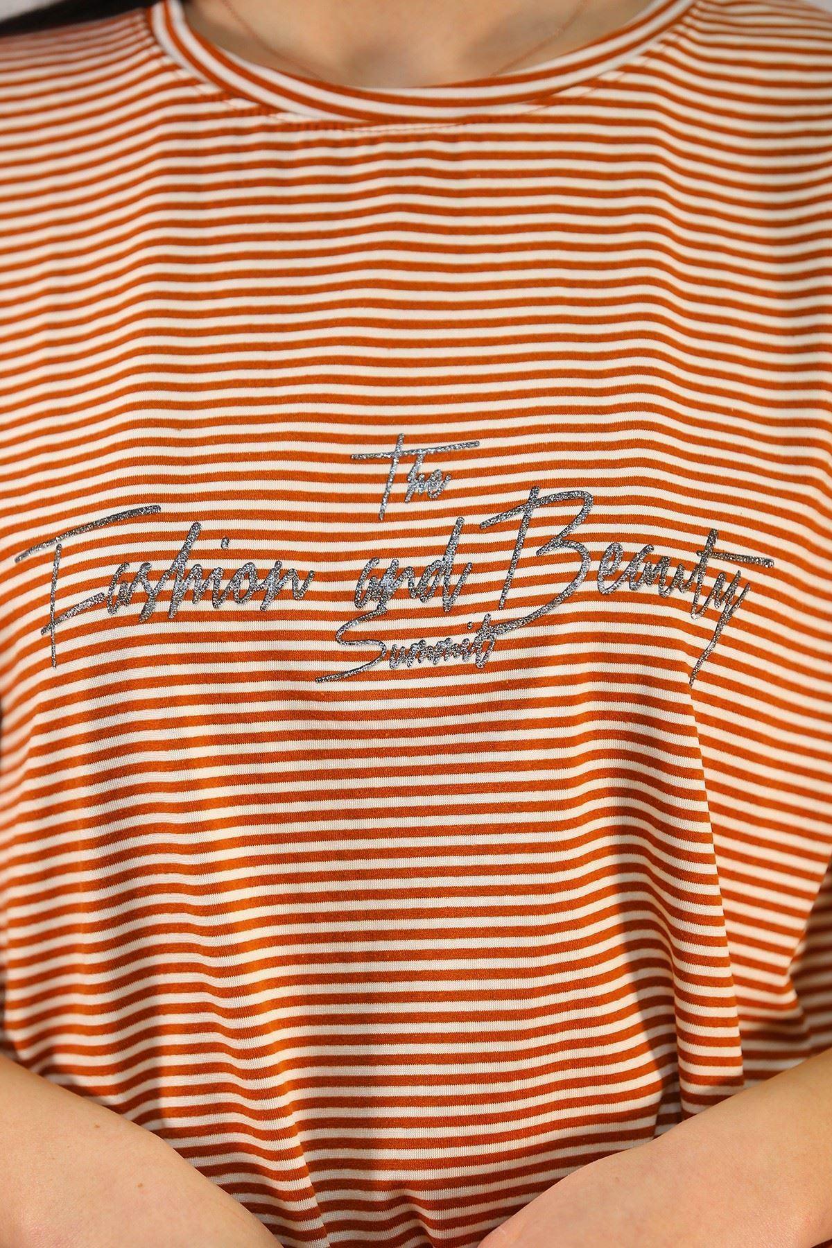 Çizgili Yazılı Tişört Kiremit - 4992.336.