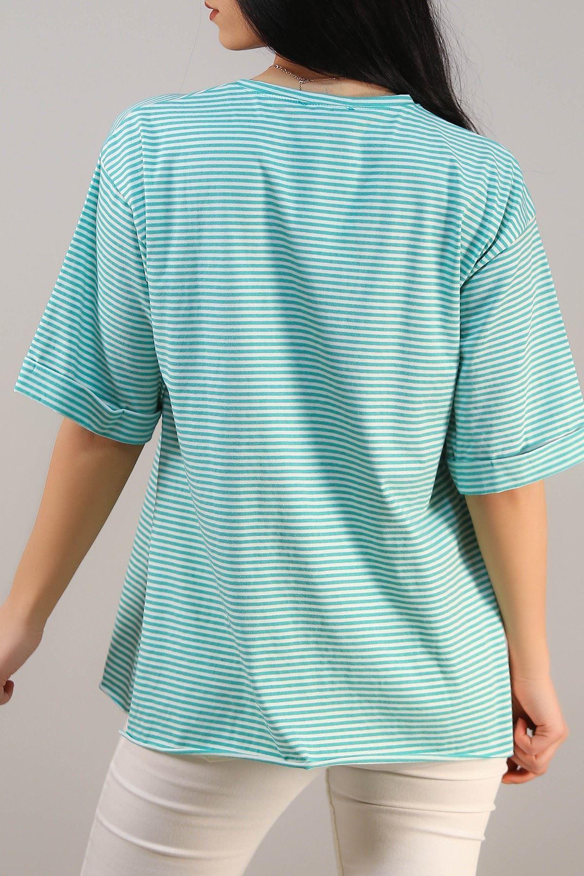 Çizgili Yırtmaçlı Tişört Yeşil - 4993.336.