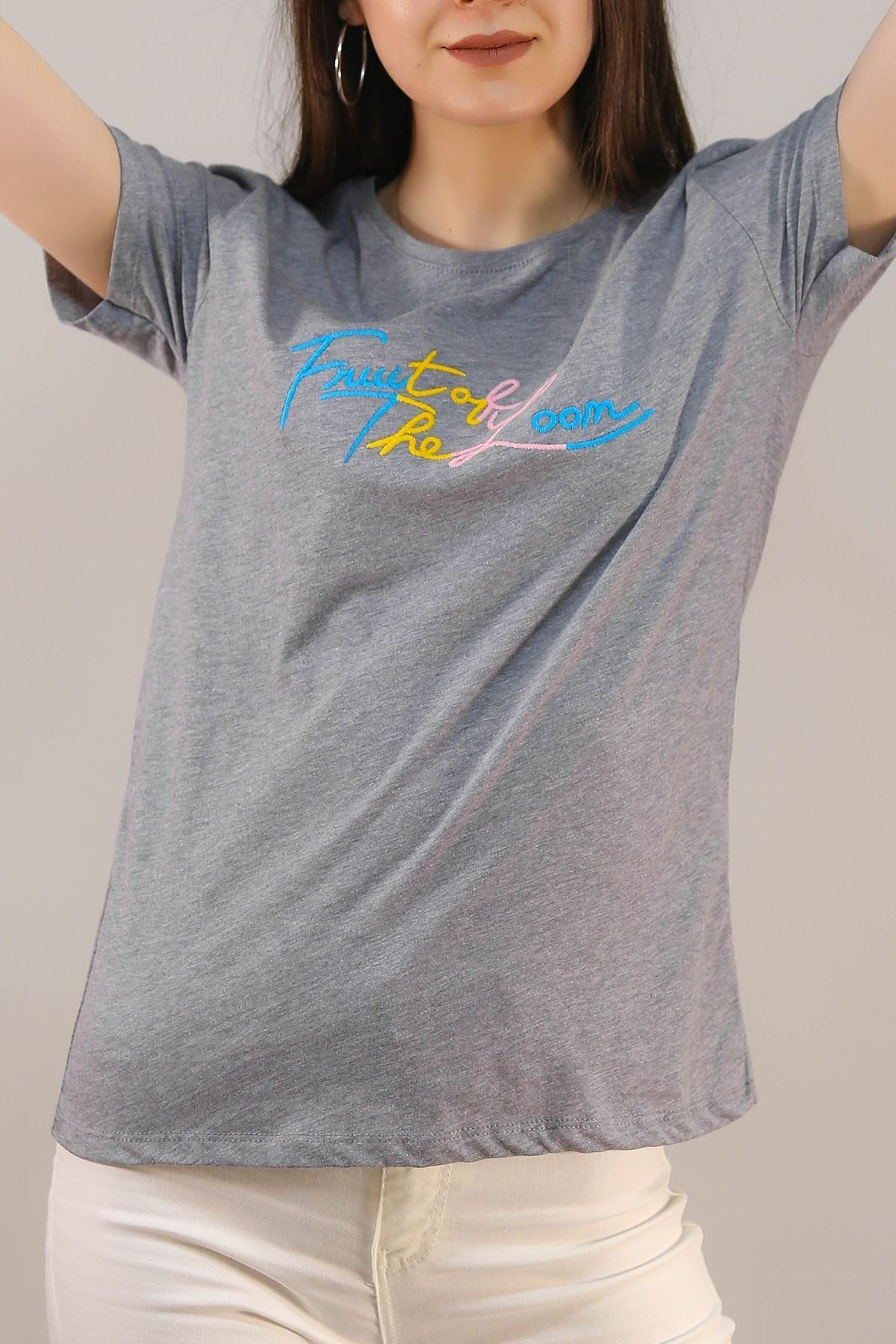 Nakışlı Tişört Gri - 4997.336.