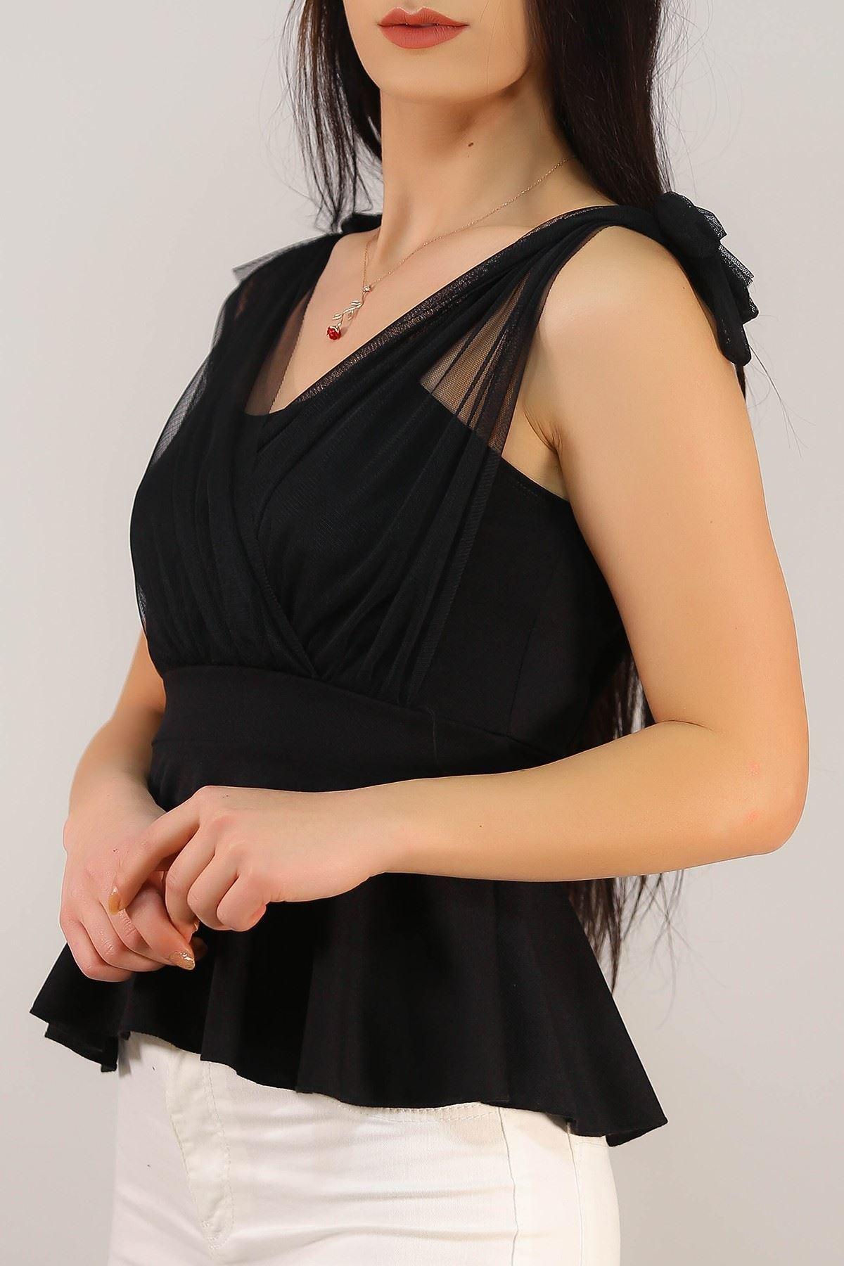 Askılı Tüllü Bluz Siyah - 4988.631.