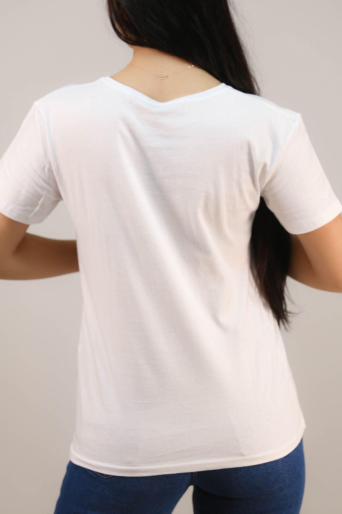 Nakışlı Tişört Beyaz - 4997.336.