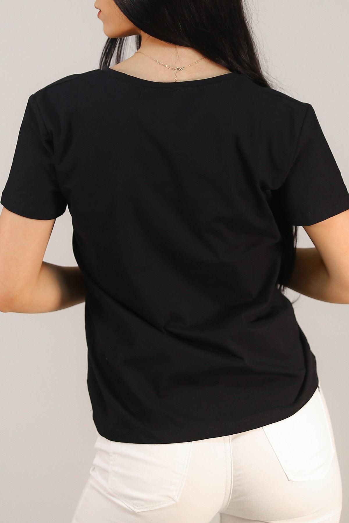 Nakışlı Tişört Siyah - 5001.336.