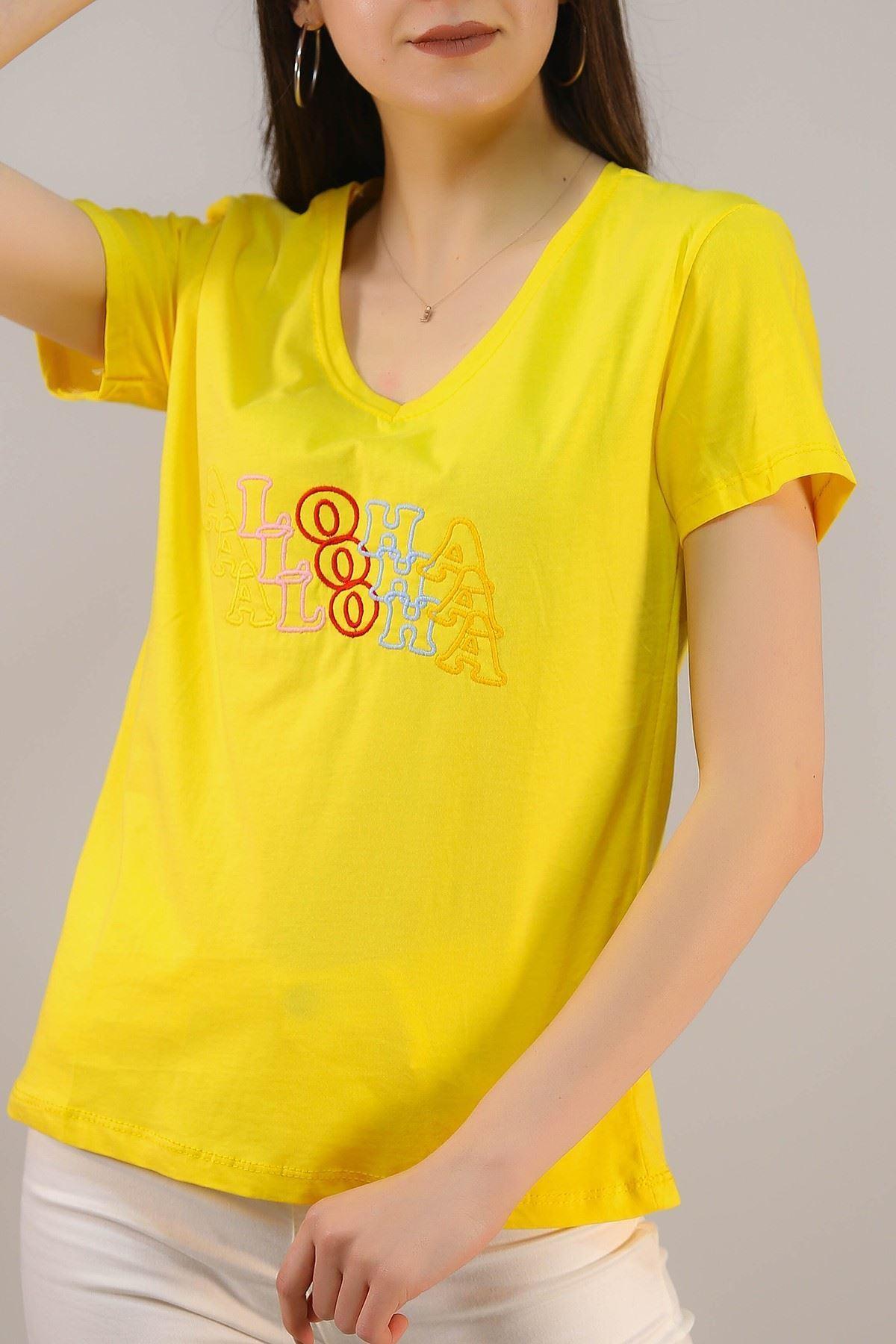 Nakışlı Tişört Sarı - 5001.336.
