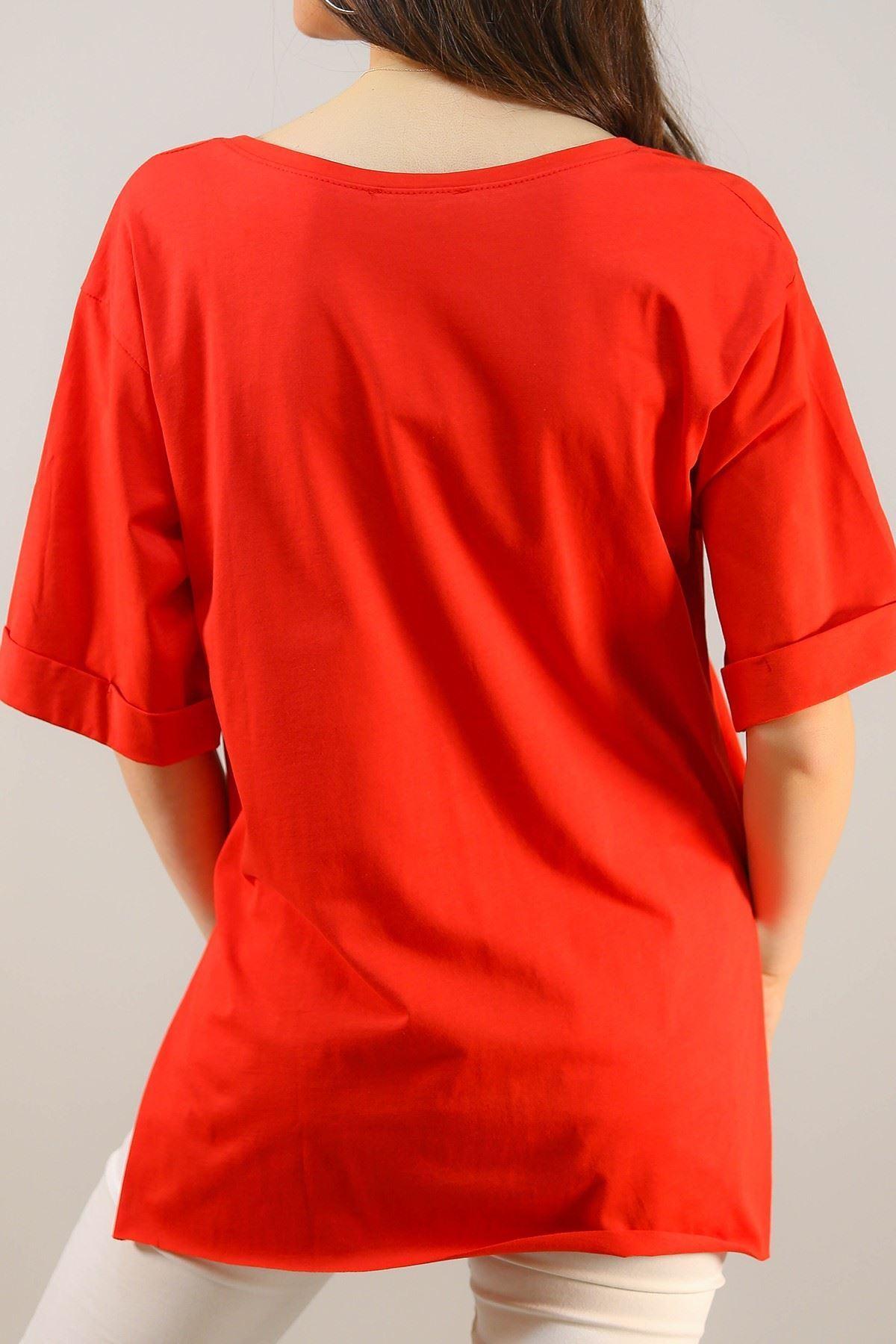 Duble Kol Tişört Kırmızı - 4994.336.