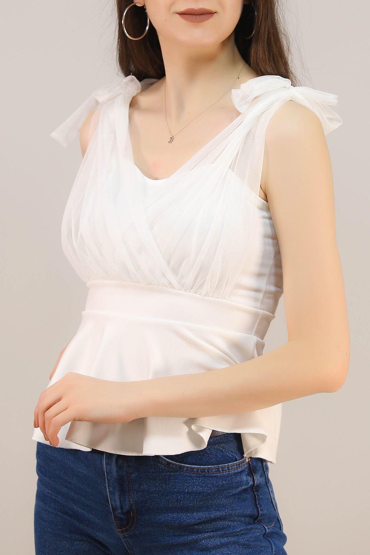 Askılı Tüllü Bluz Beyaz - 4988.631.