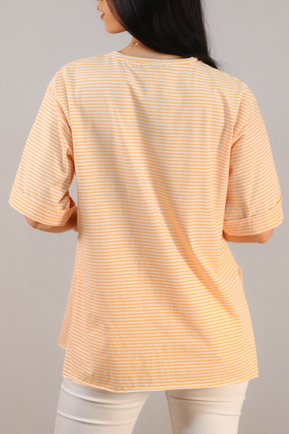 Çizgili Yazılı Tişört Turuncu - 4992.336.