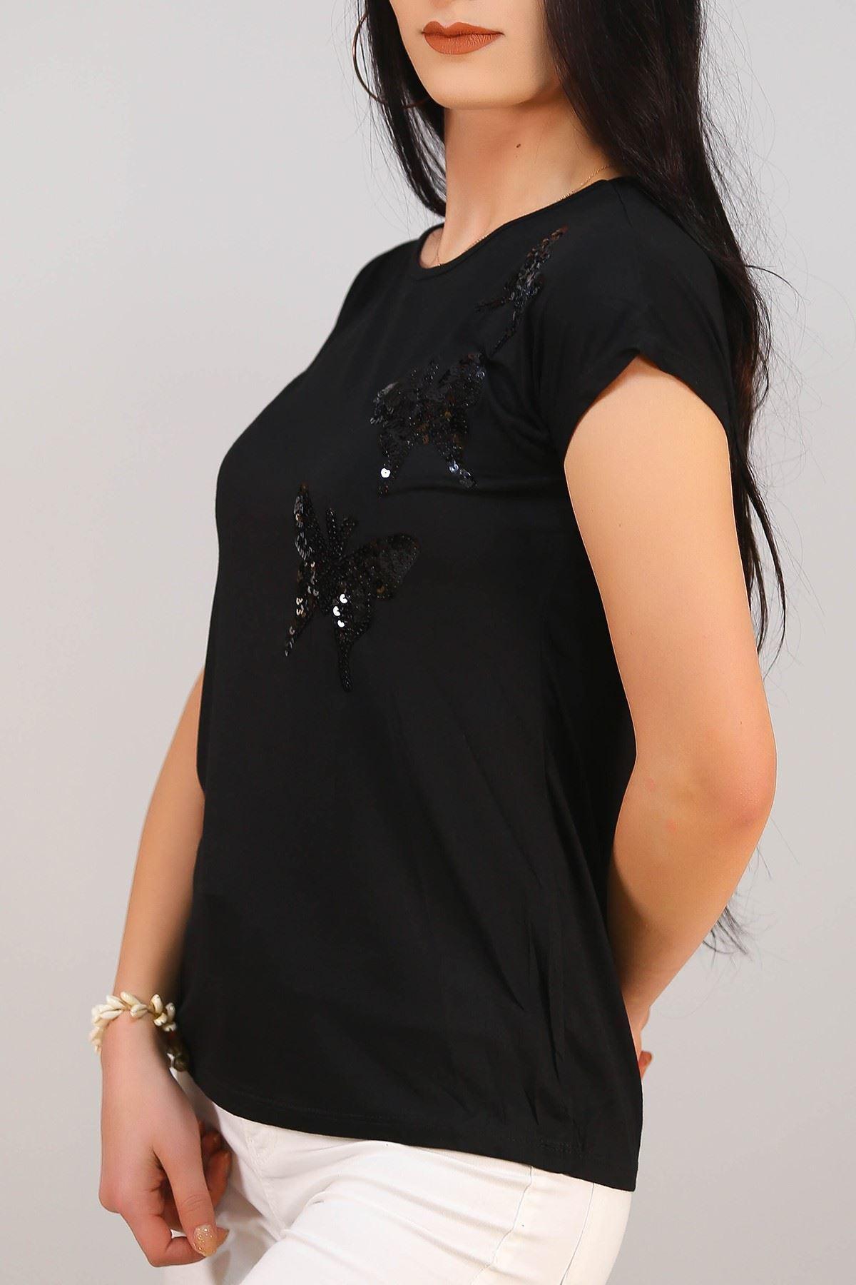 Pullu Kelebek Tişört Siyah - 5032.139.