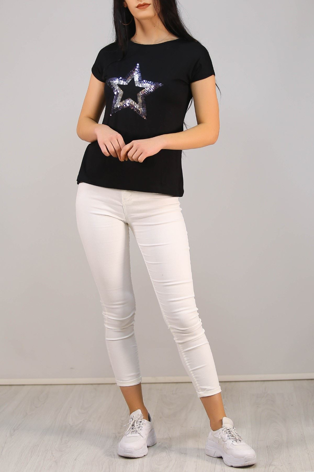 Pullu Yıldız Tişört Siyah - 5031.139.