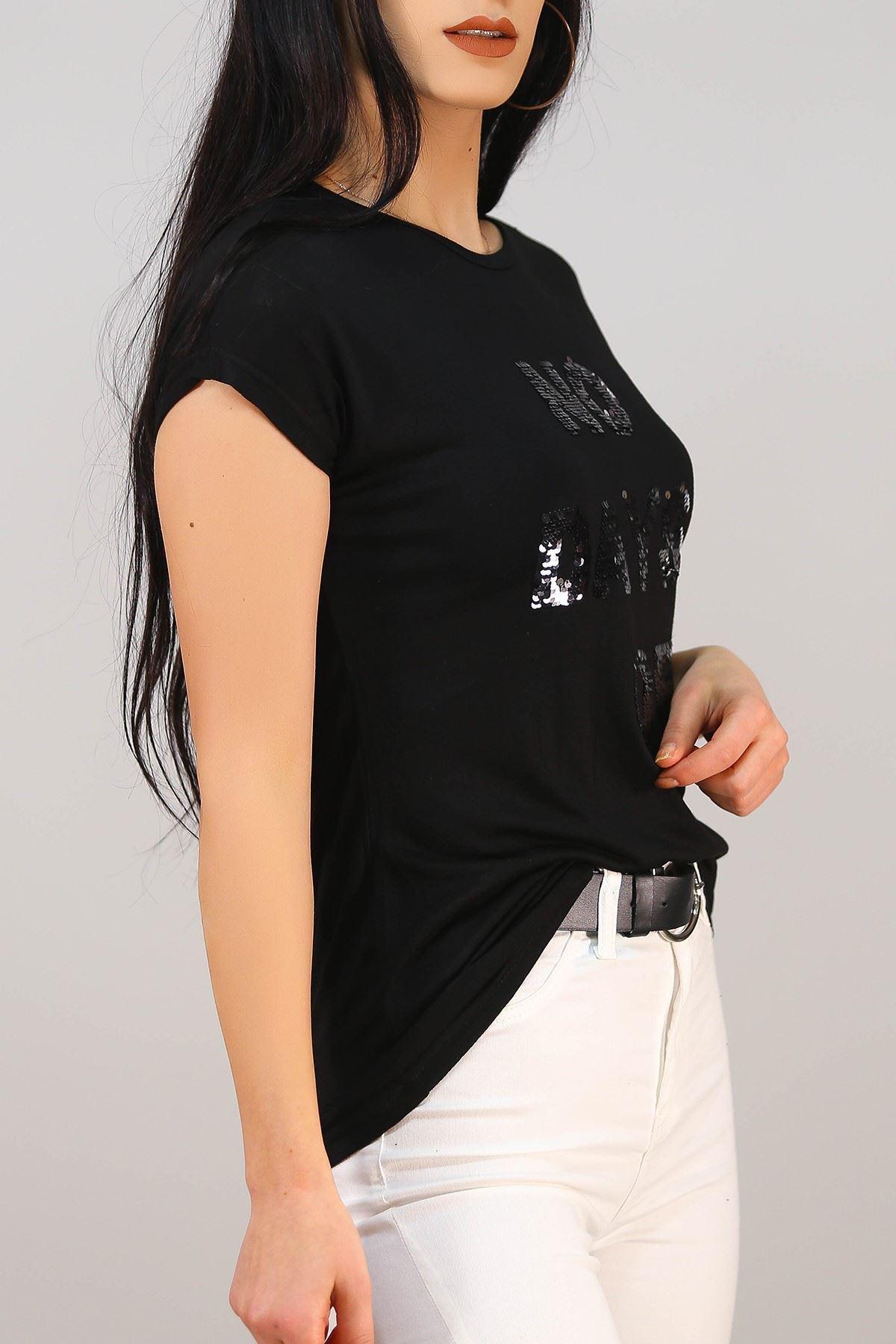 No Days Baskı Tişört Siyah - 5041.139.
