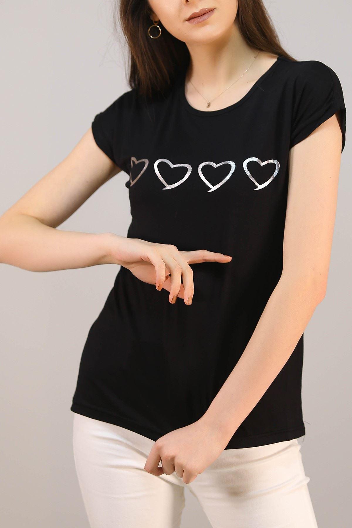 Kalp Baskılı Tişört Siyah - 5044.139.