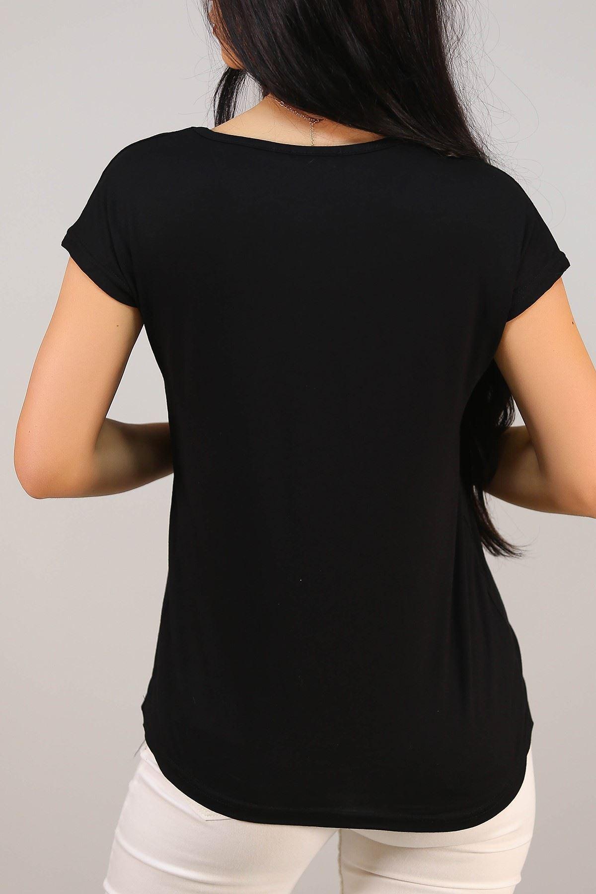 Love Baskılı Tişört Siyah - 5043.139.
