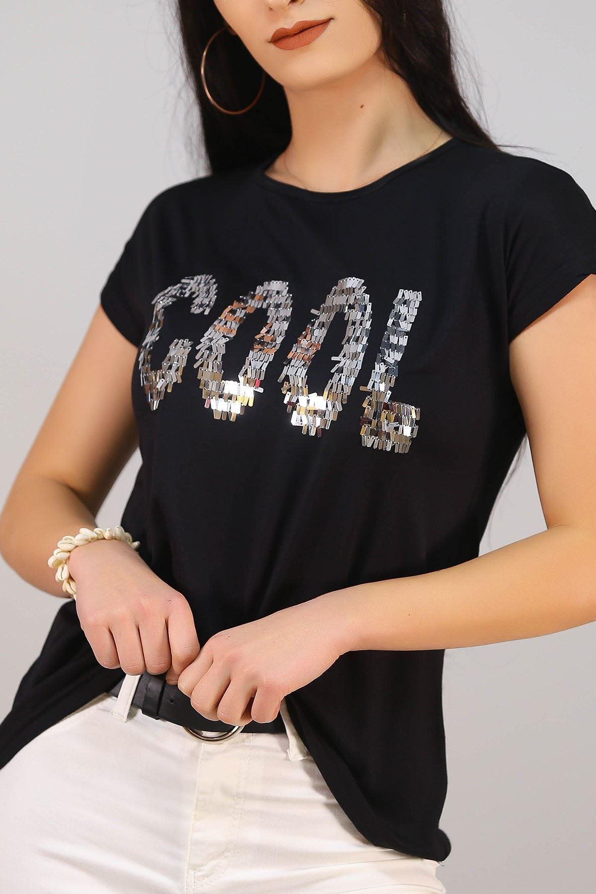 Cool Baskılı Tişört Siyahgümüş - 5050.139.