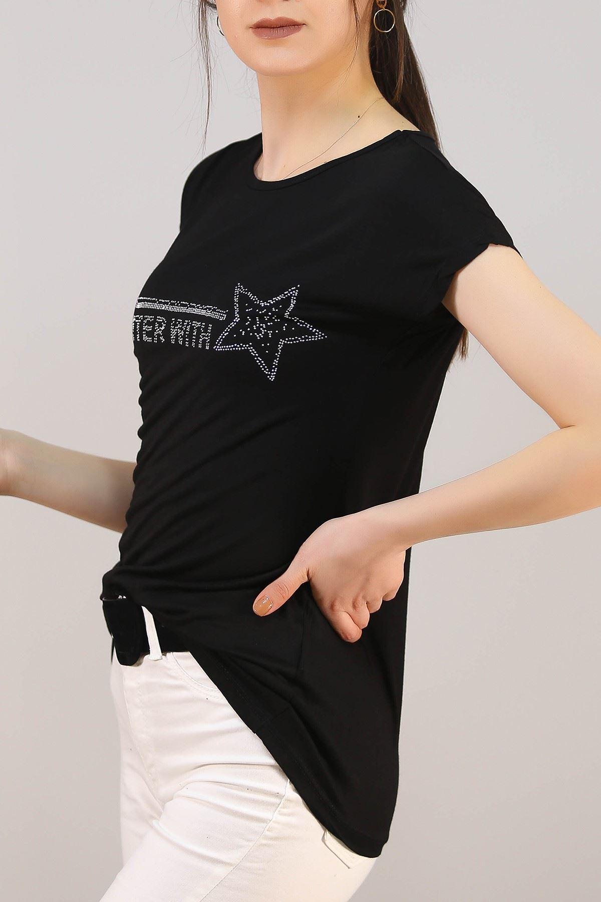 Yıldız Baskılı Tişört Siyah - 5047.139.