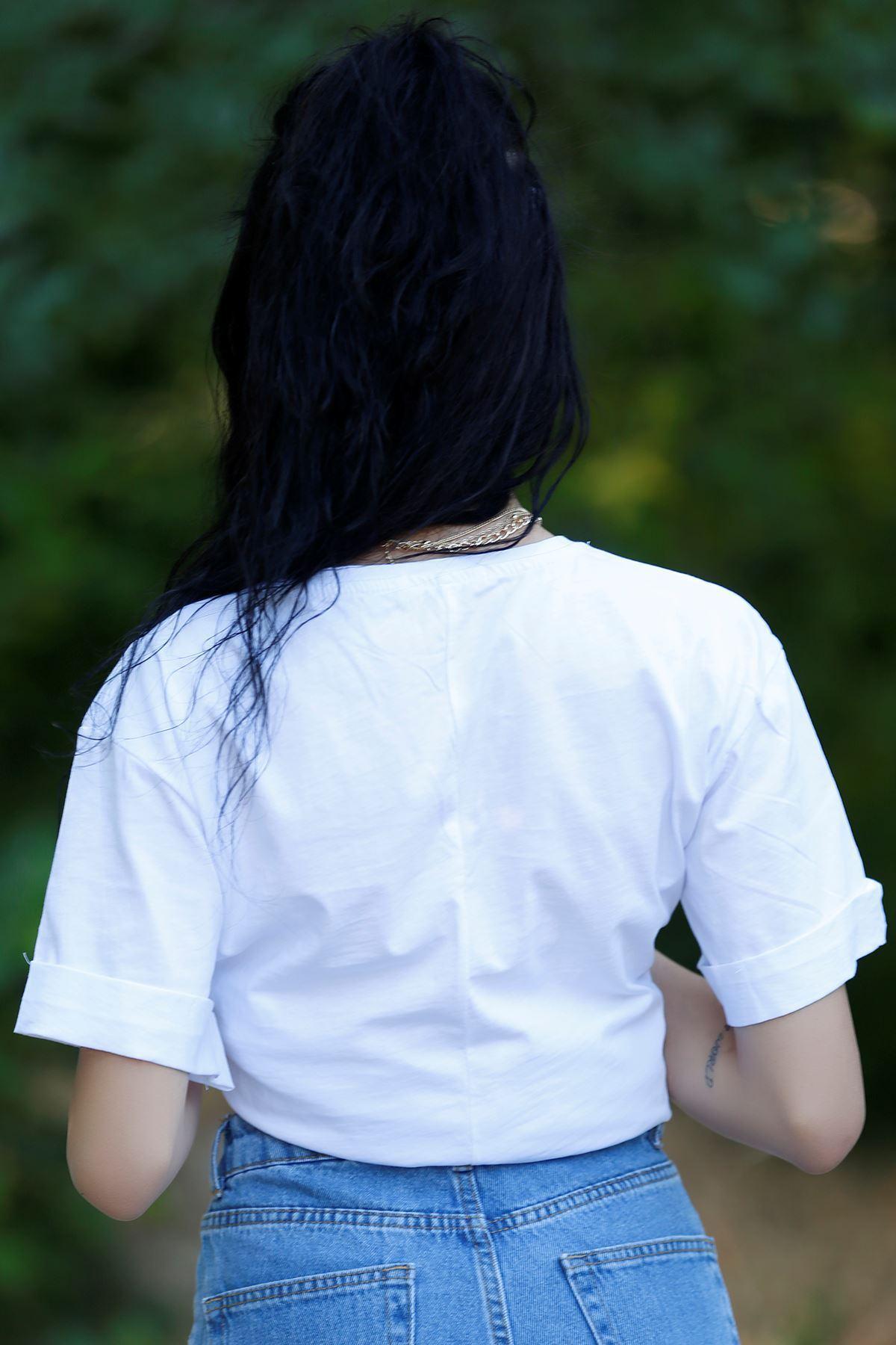Yırtmaçlı Baskılı Tişört Beyaz - 1068.275.
