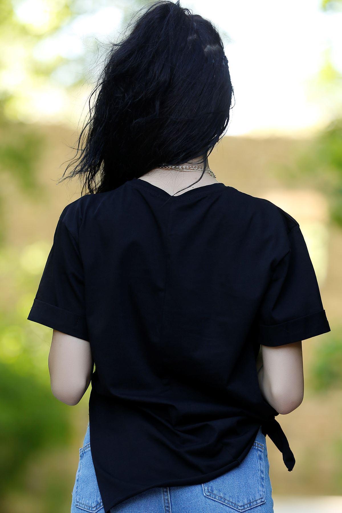 Yırtmaçlı Baskılı Tişört Siyah - 1068.275.