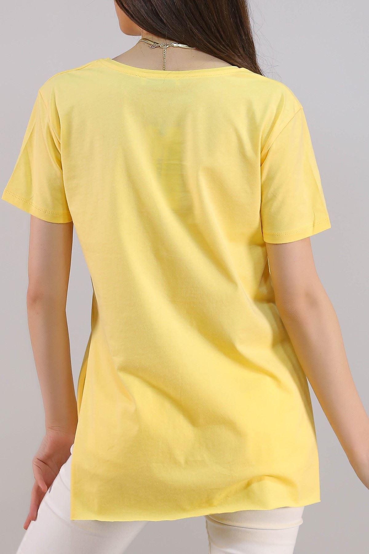 Yırtmaçlı Penye Tunik Tişört Sarı - 1063.275.