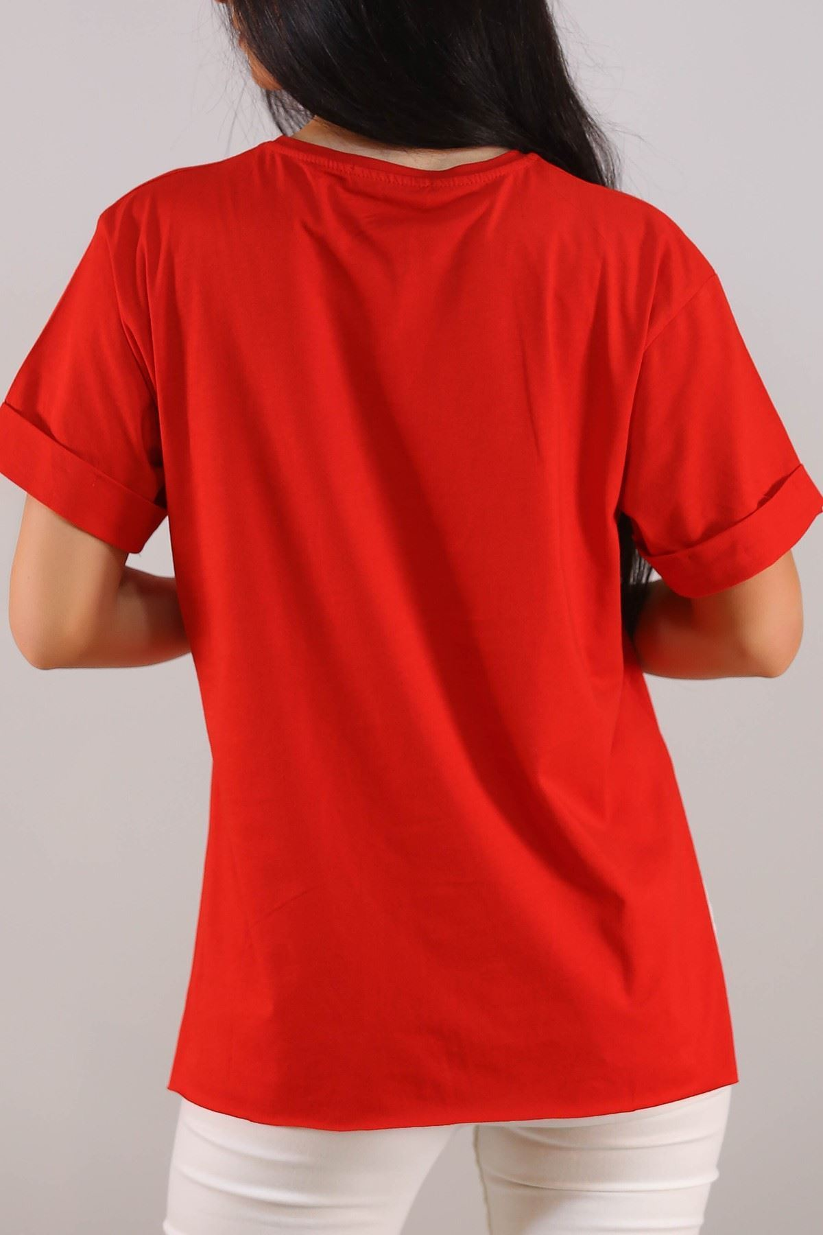 Yırtmaçlı Baskılı Tişört Kırmızı - 1068.275.
