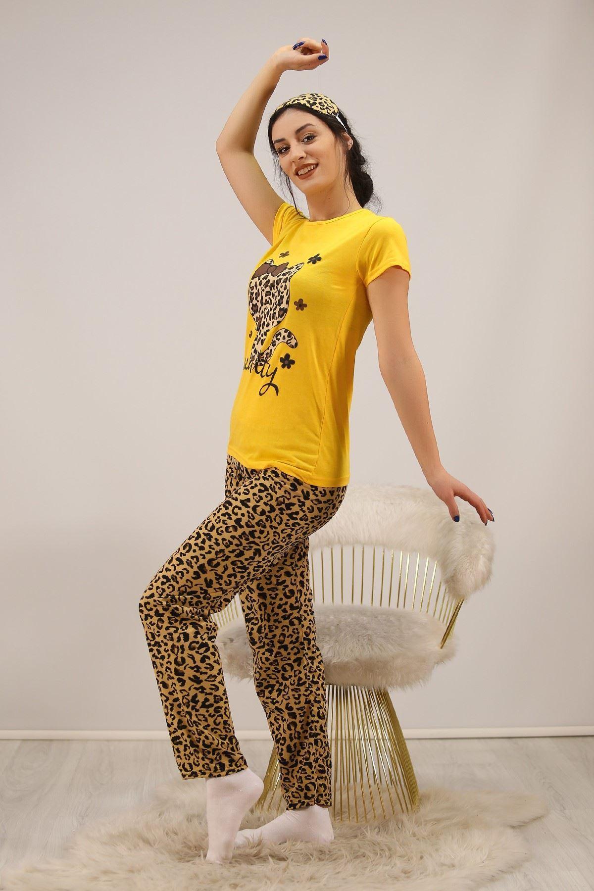 Baskılı Pijama Takımı Sarı - 4700.102.