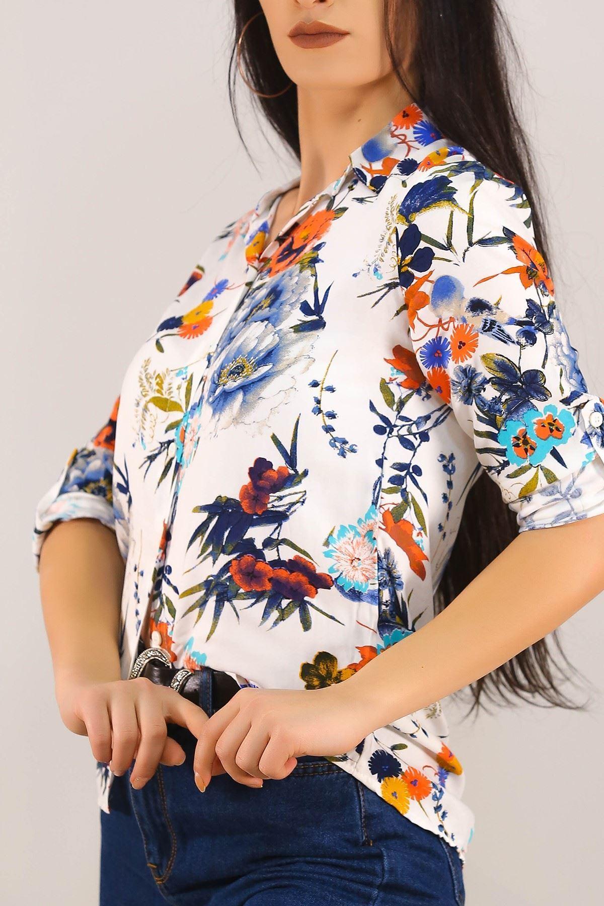 Desenli Gömlek Beyazçiçekli - 5087.128.