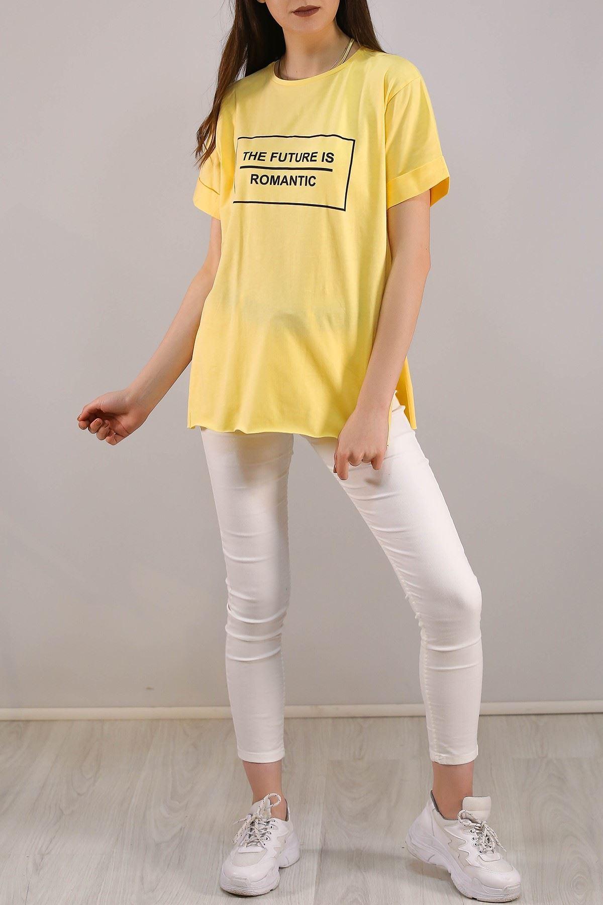 Yazı Baskılı Tişört Sarı - 5081.275.