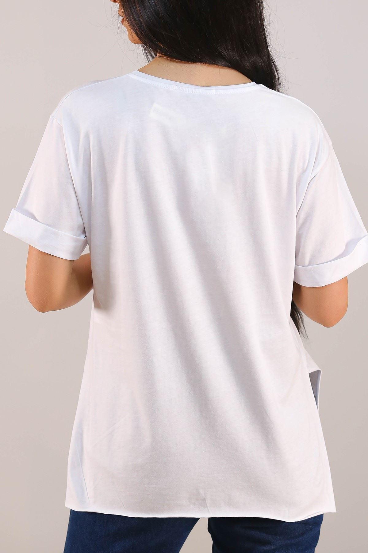 Baskılı Tişört Beyaz - 5084.275.