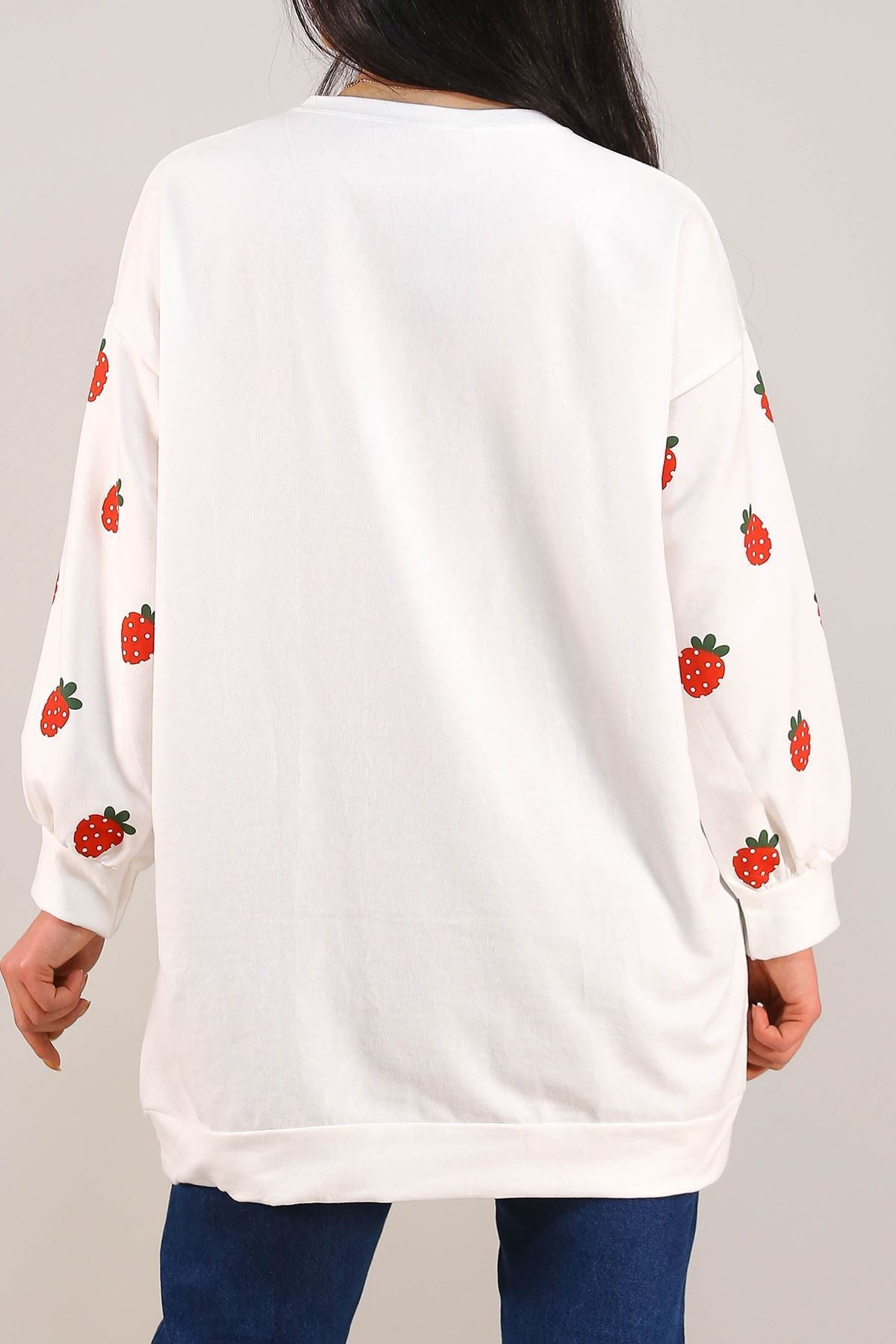 Çilek Baskılı Tunik Beyaz - 3163.105.