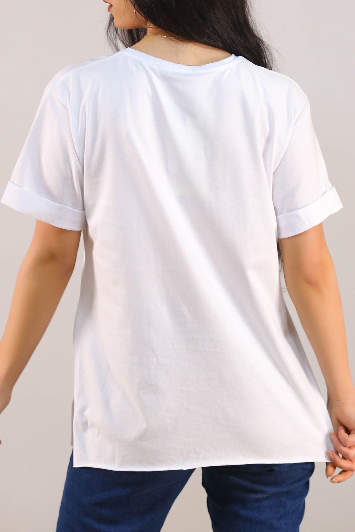 Baskılı Tişört Beyaz - 5078.275.