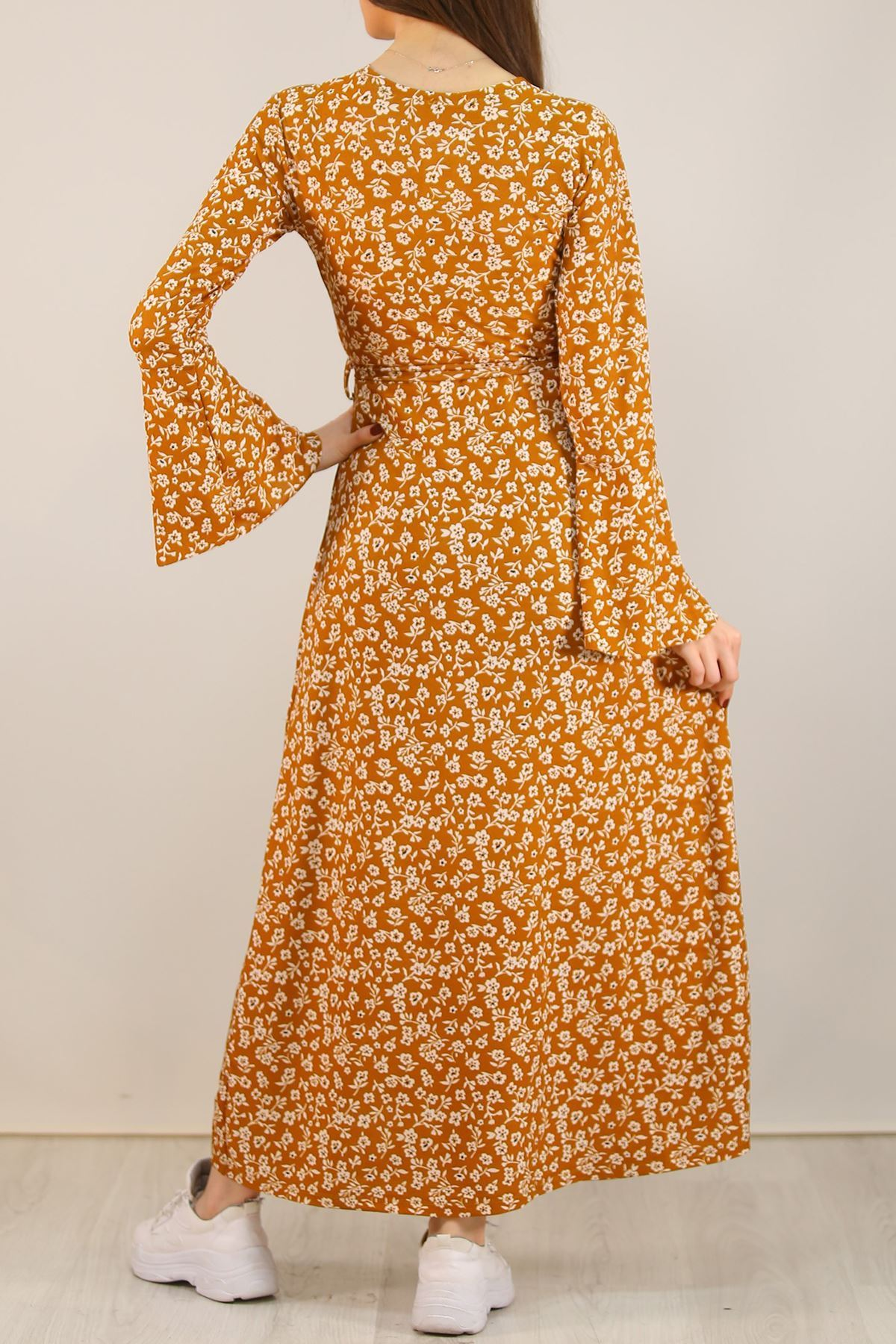 Kemerli Çiçekli Elbise Kiremit - 5073.716.