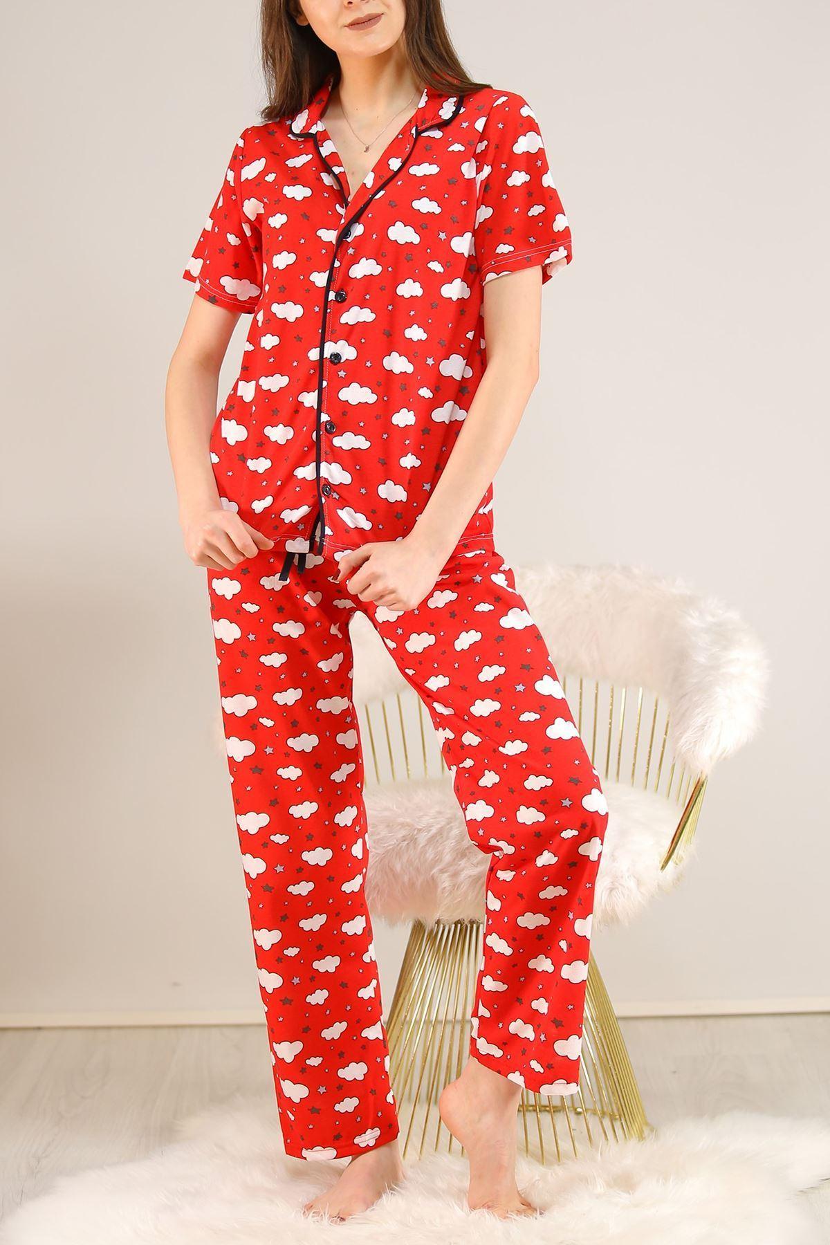 Düğmeli Pijama Takımı Kırmızıbeyaz - 4782.102.