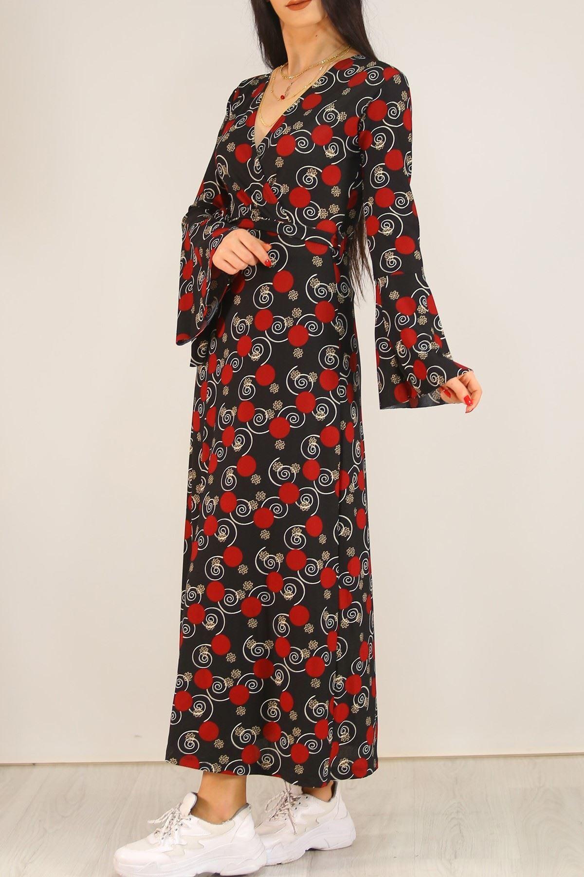 Desenli Elbise Siyahbordo - 5075.716.