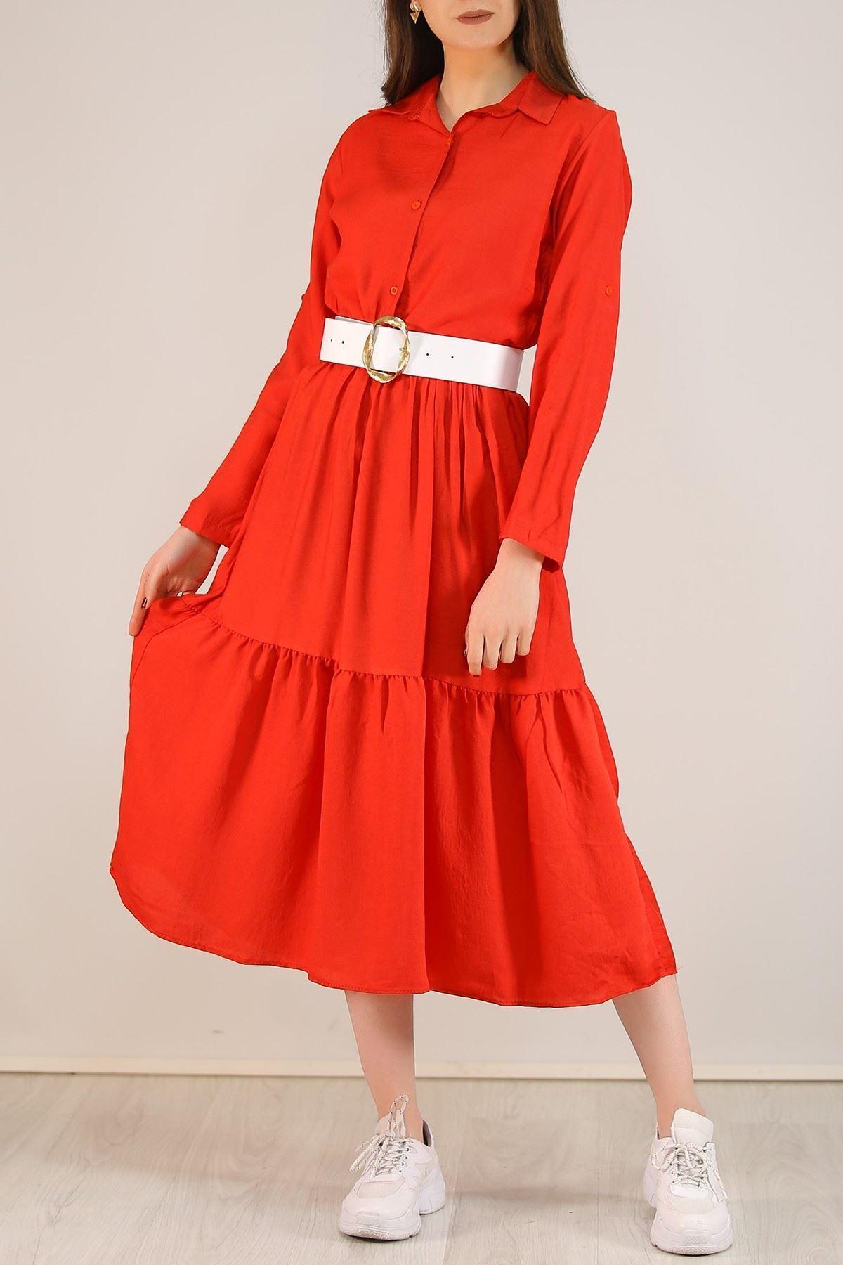 Katlama Kol Elbise Kırmızı - 4807.701.