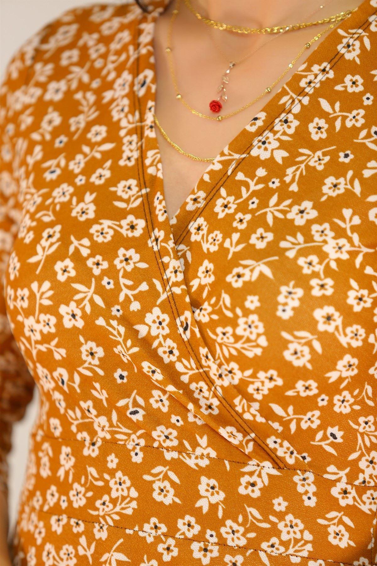 Çiçekli Elbise Kiremit - 5070.716.