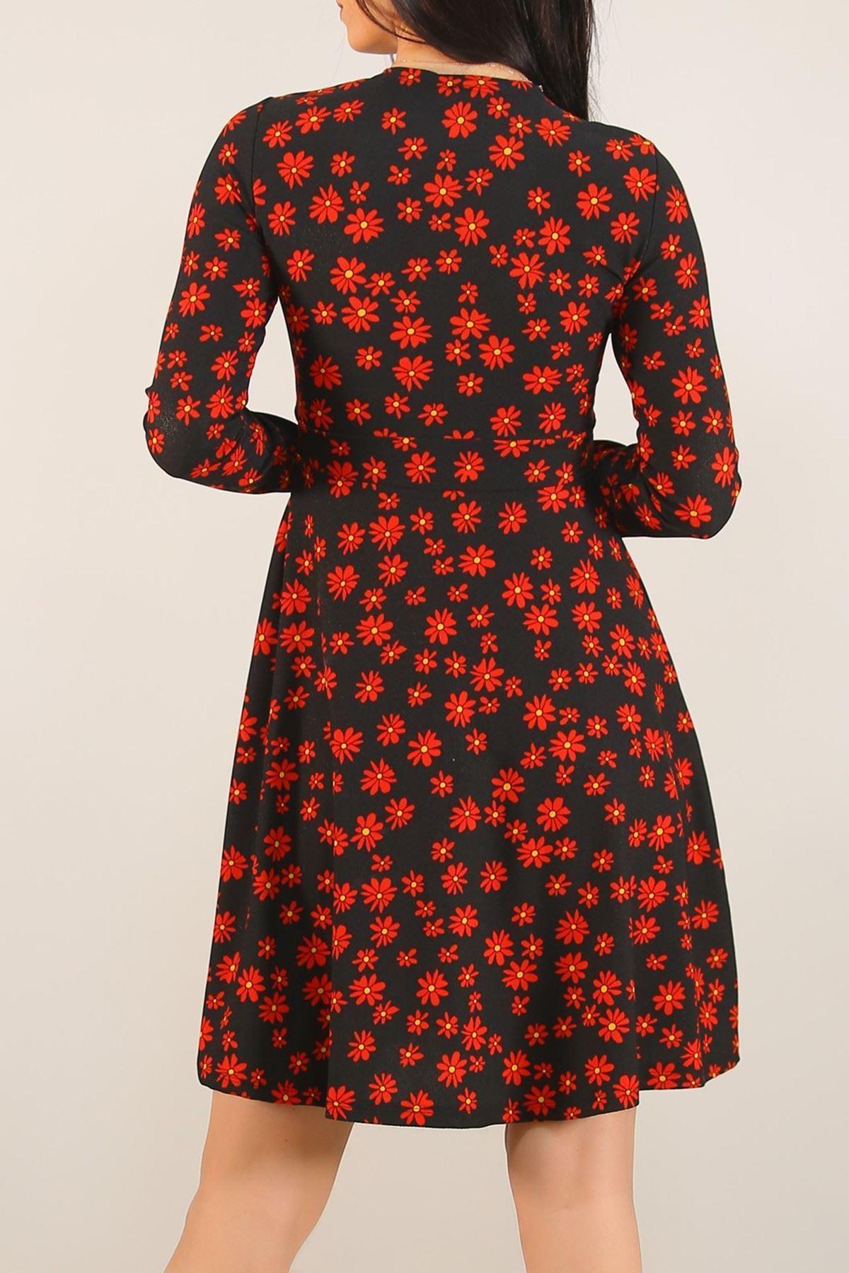 Desenli Elbise Siyahkırmızı - 4986.716.
